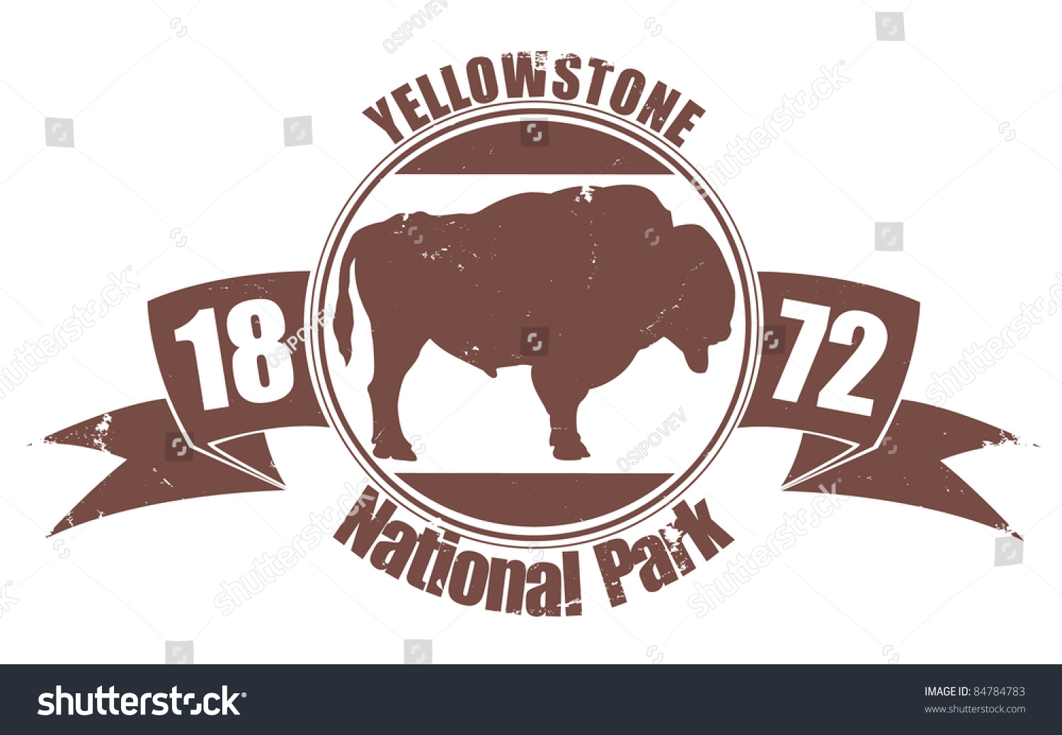 Yellowstone National Park Stamp Stock Vector Royalty Free 84784783