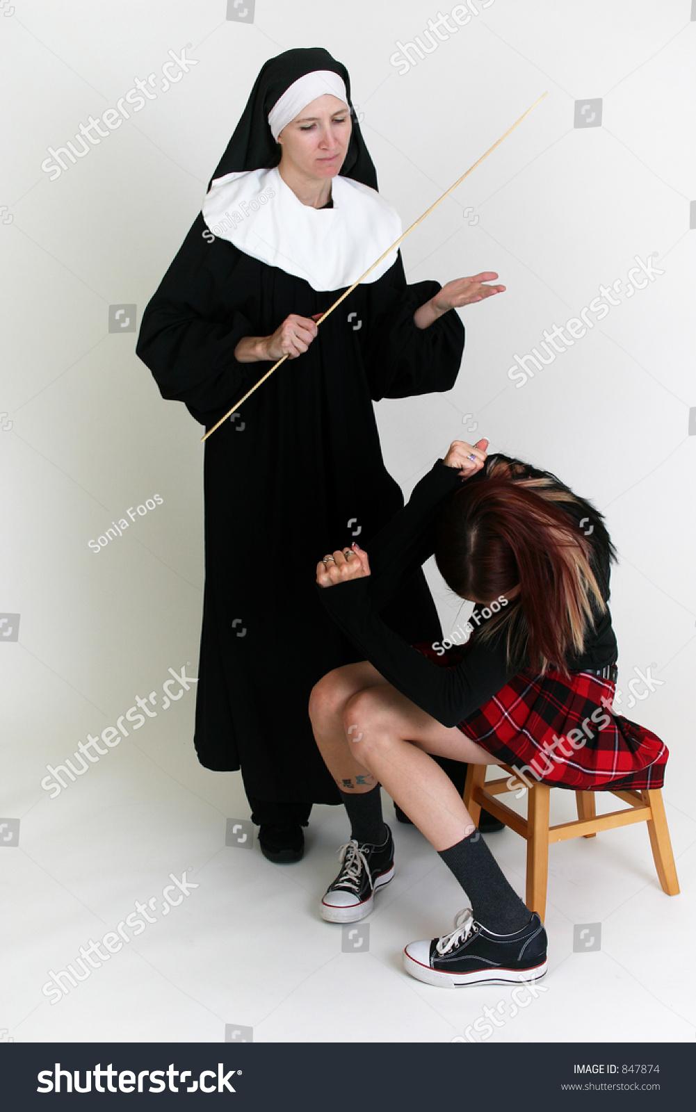 nun diciplining school girl stock photo (safe to use) 847874