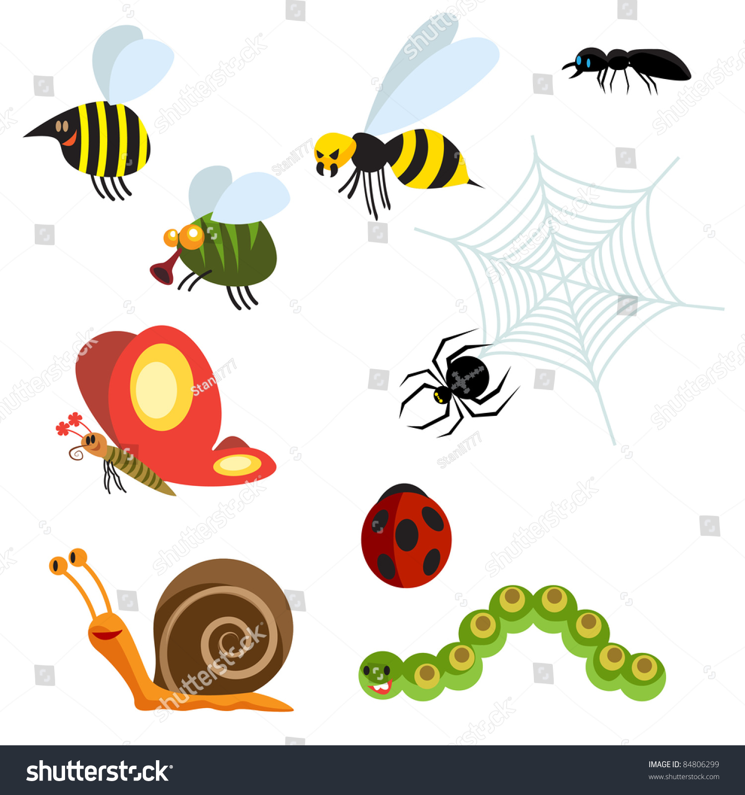 Garden Animals Stock Vector 84806299 Shutterstock