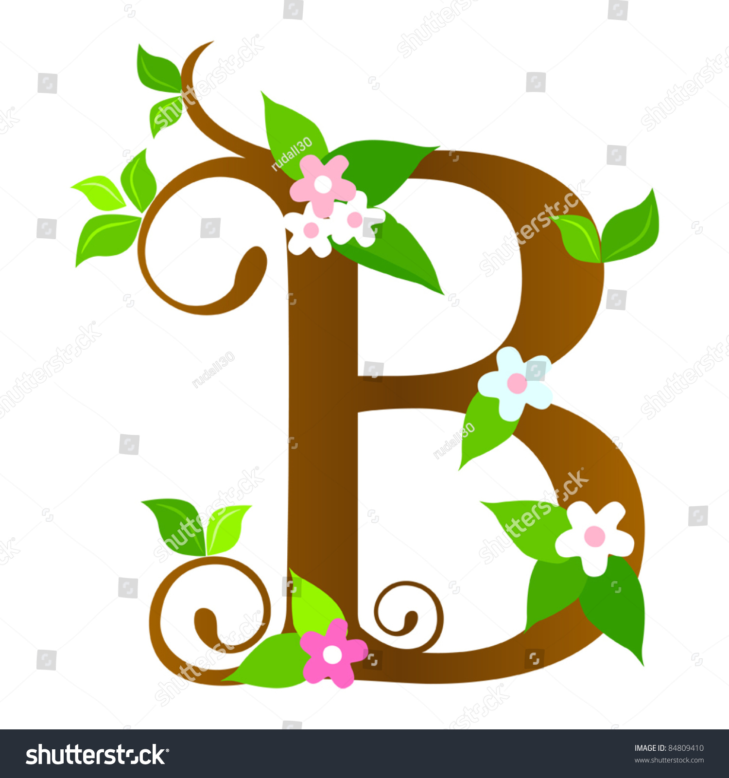 Plants Font Type Letter B Stock Vector 84809410