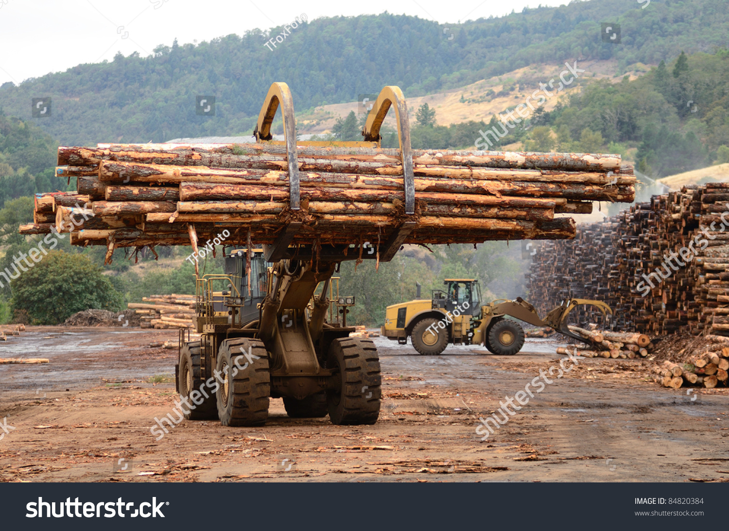 Large log loader operations log yard stock photo 84820384 for Mill log