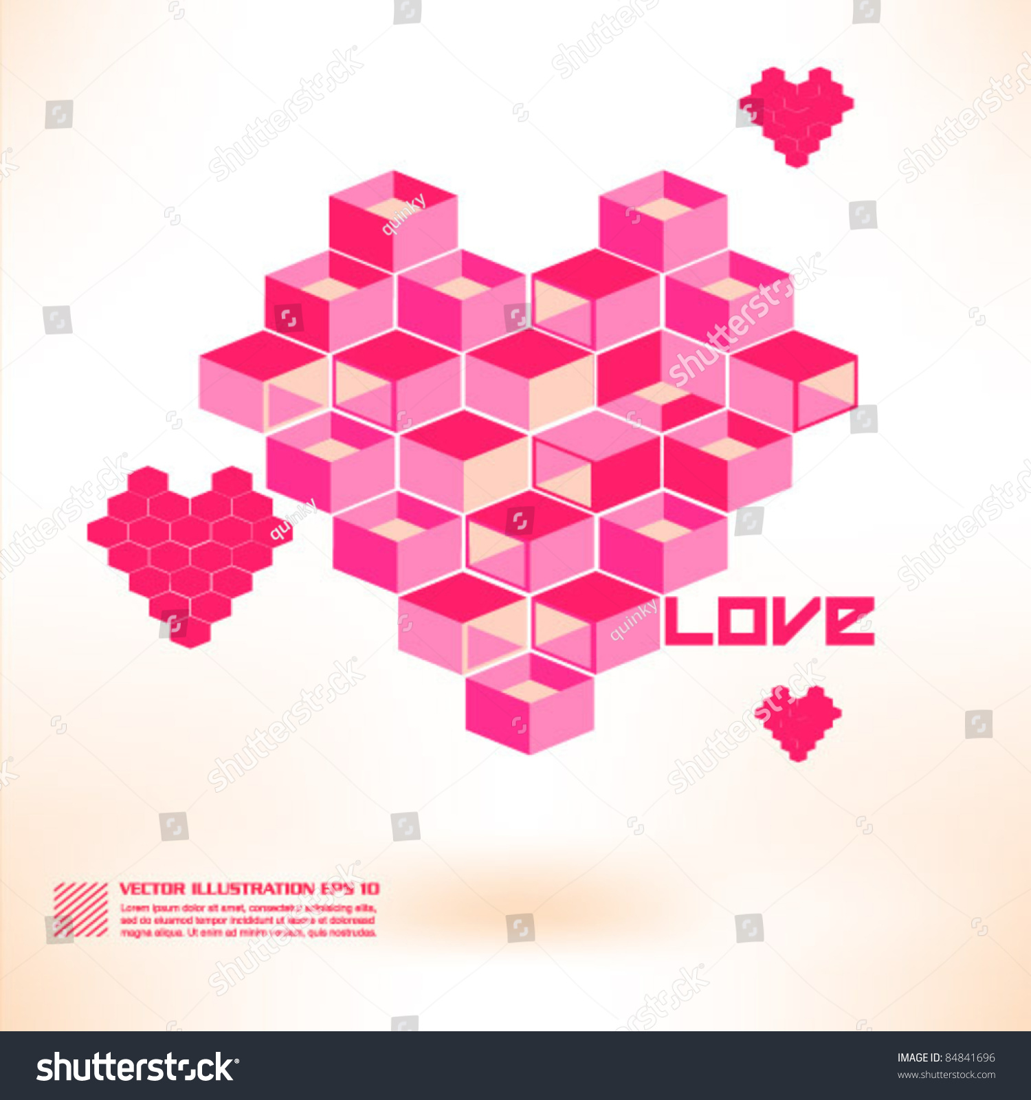 Romantic Three Dimension Love Shape Design Stock Vector Royalty