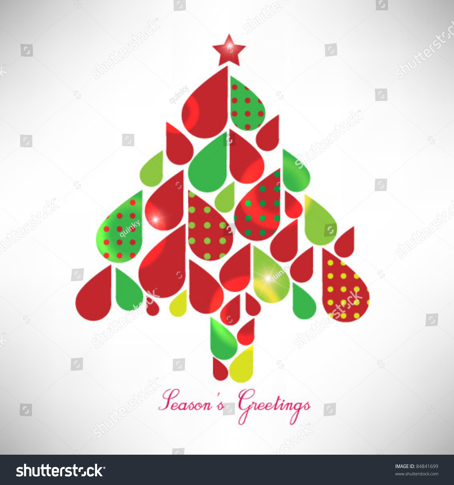 Cute Colorful Christmas Tree Design Stock Vector