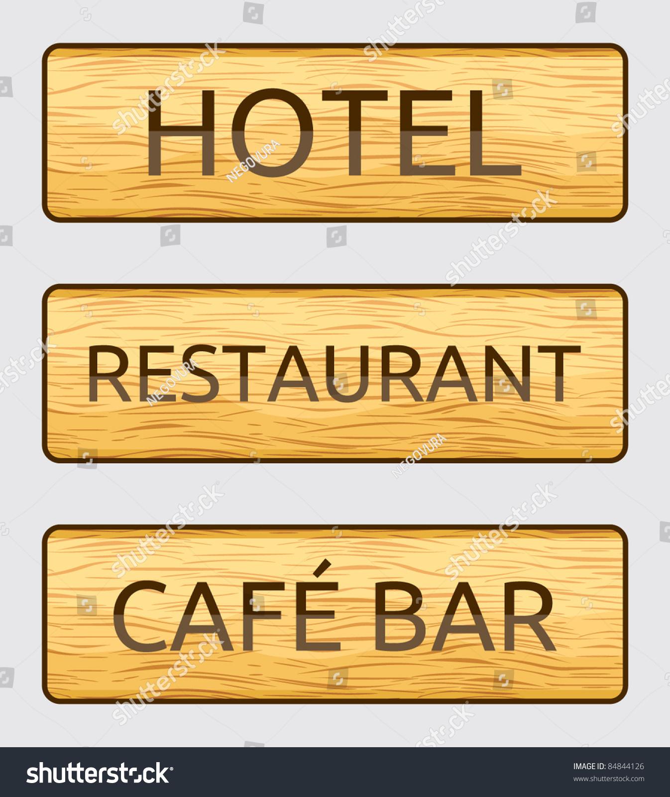 wooden hotel restaurant and cafe bar door signs