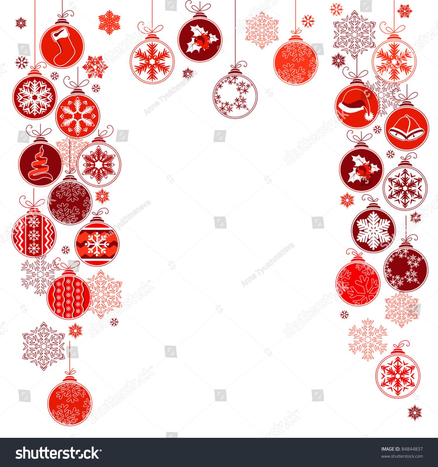 blank christmas frame contour hanging balls stock vector  blank christmas frame contour hanging balls