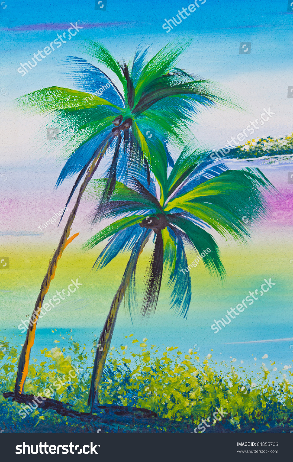 Poster Color Drawing Coconut Tree Sea Stock Photo (Royalty Free ...