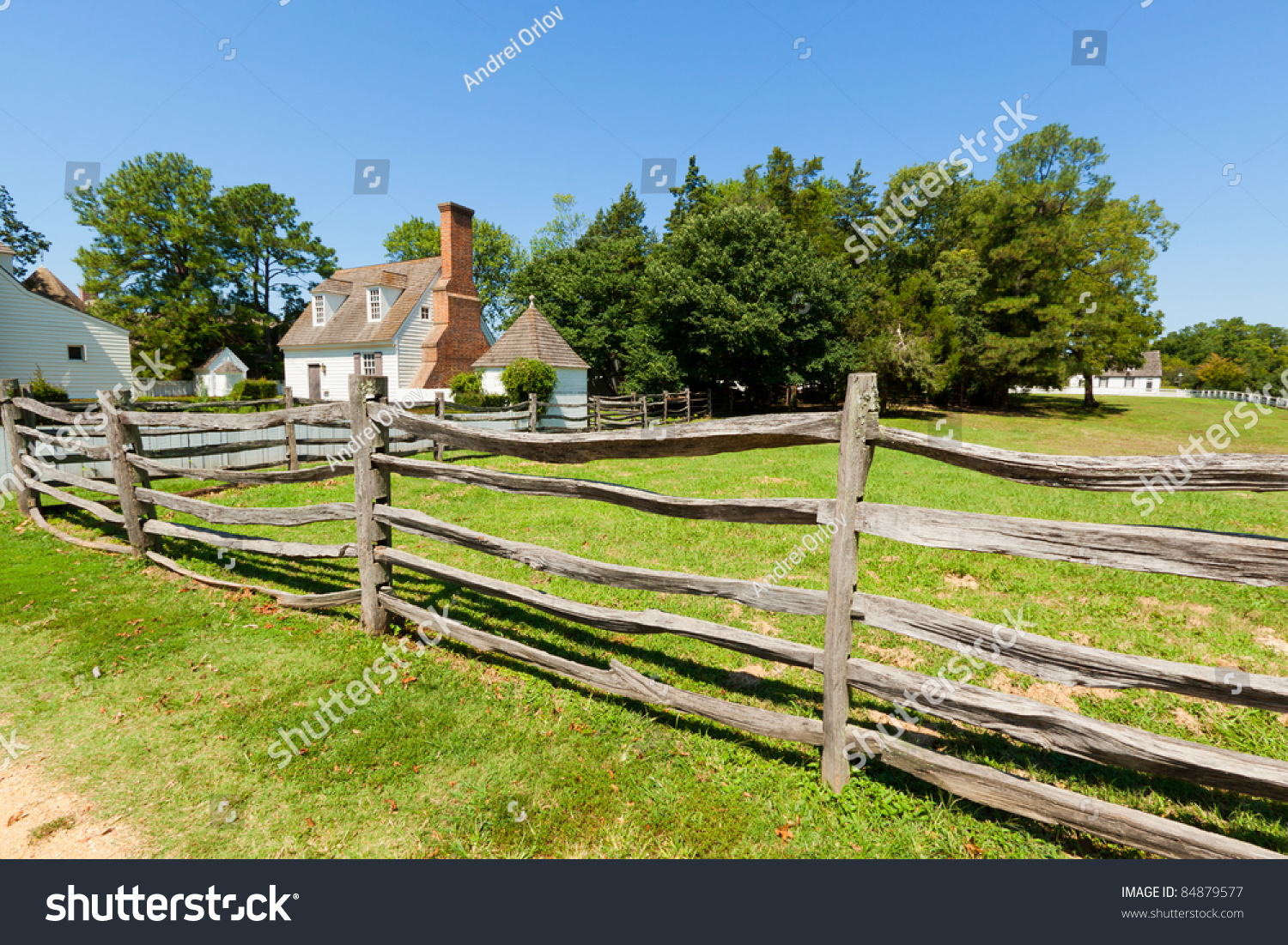 View Of The Ancient Wooden Fence On The Farm. Stock Photo