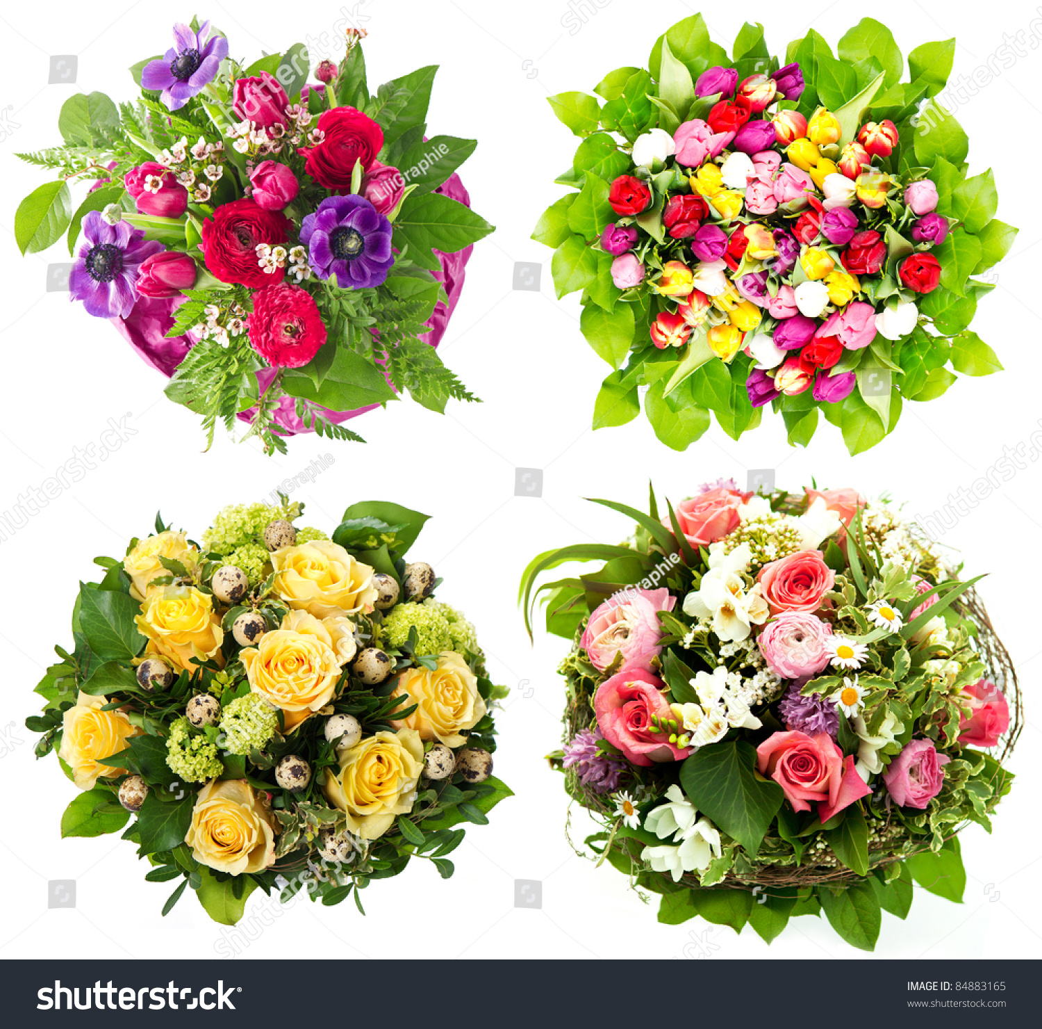 Colorful Flowers Bouquet Roses Tulips Birthday Stock Photo (Download ...