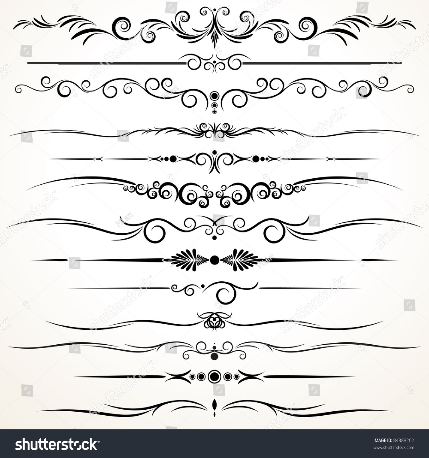 Line Art Styles : Collection of ornamental rule lines in different design