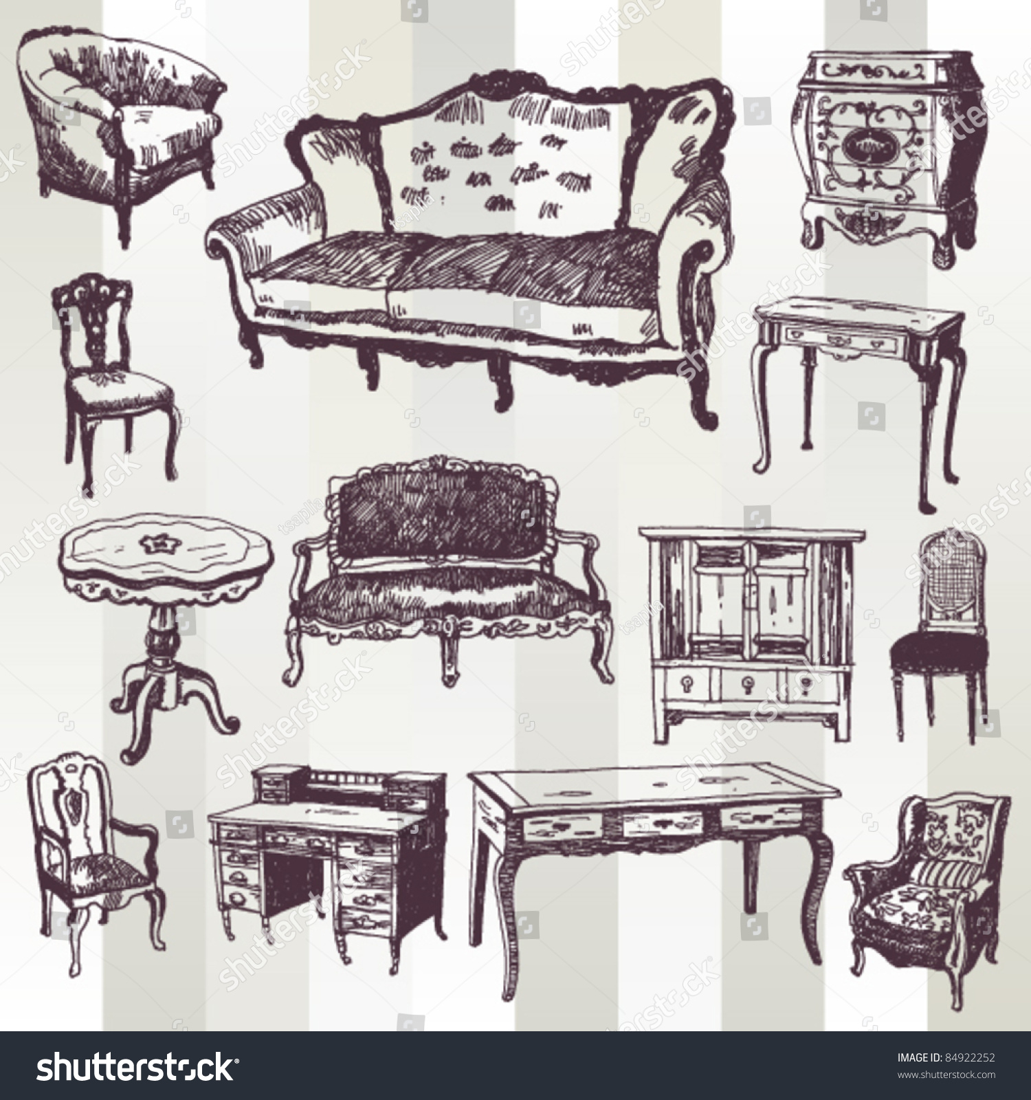 Antique chair drawing - Set Of Hand Drawn Antique Furniture