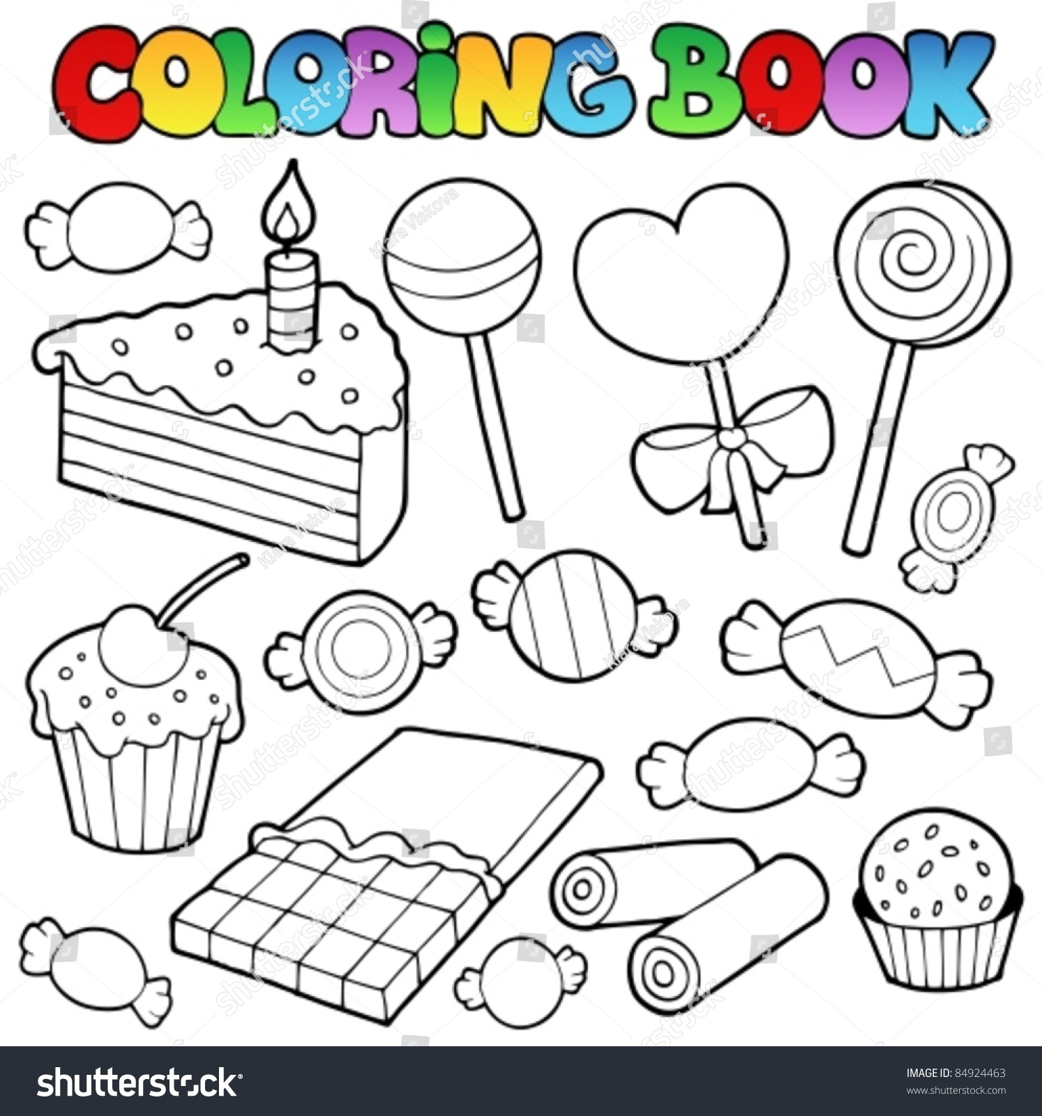 Coloring Book Candy Cakes Vector Illustration Stock Vector ...