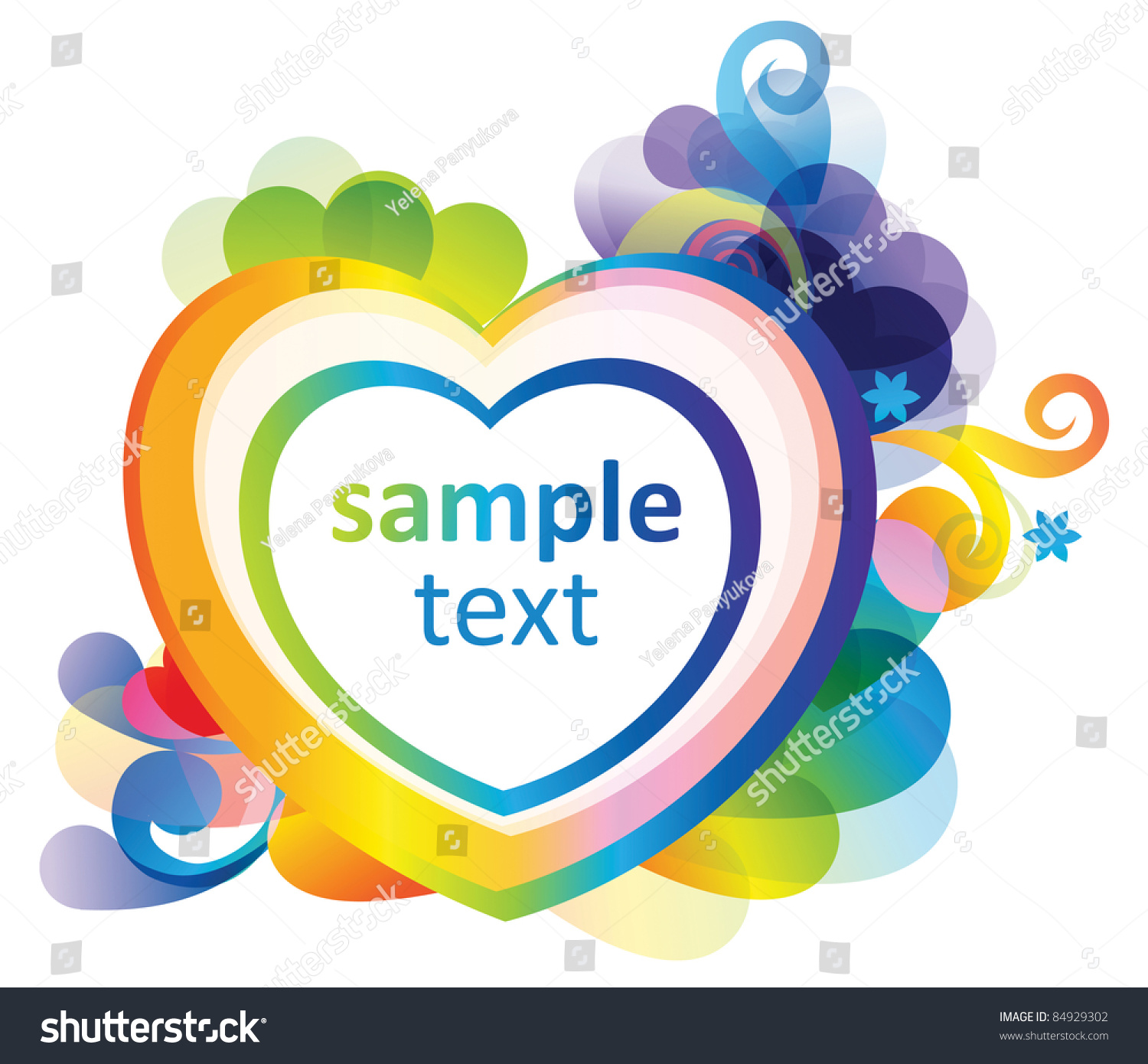 rainbow colored background with heart for design stock