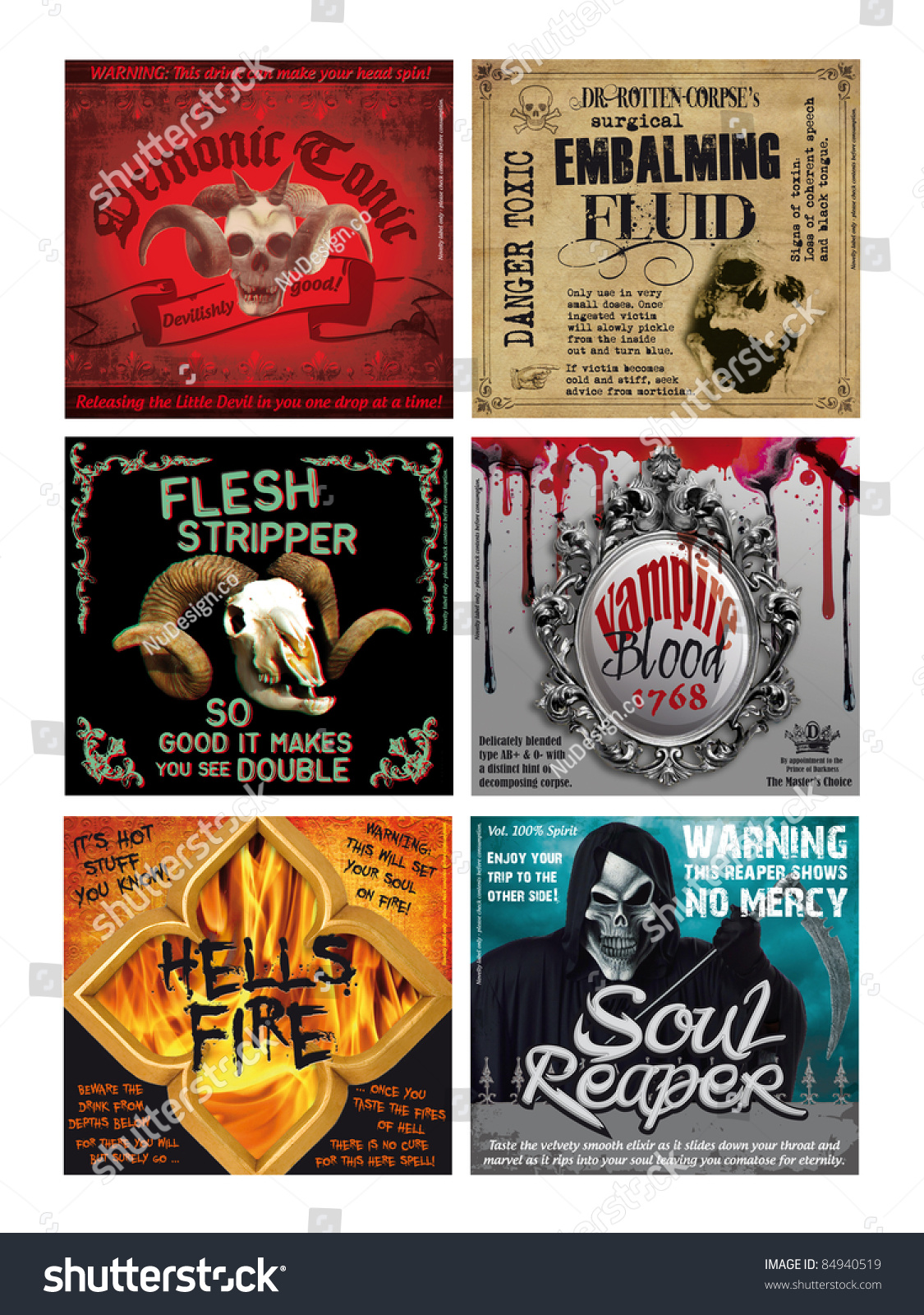 Set Of 6 Fun Halloween Drink Bottle Labels Print Out Onto