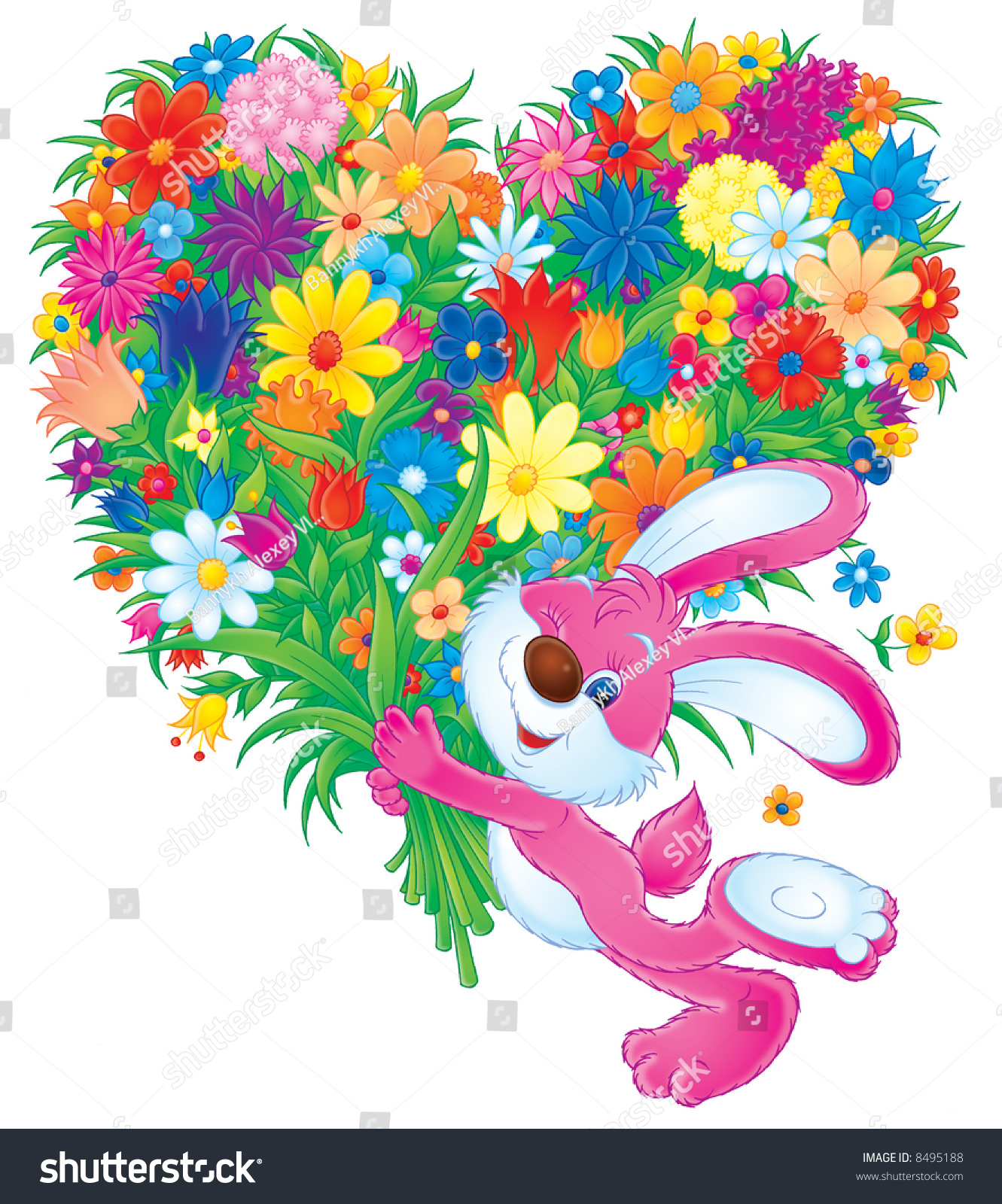 Pink rabbit with a big bouquet of flowers stock photo for Biggest bouquet of flowers