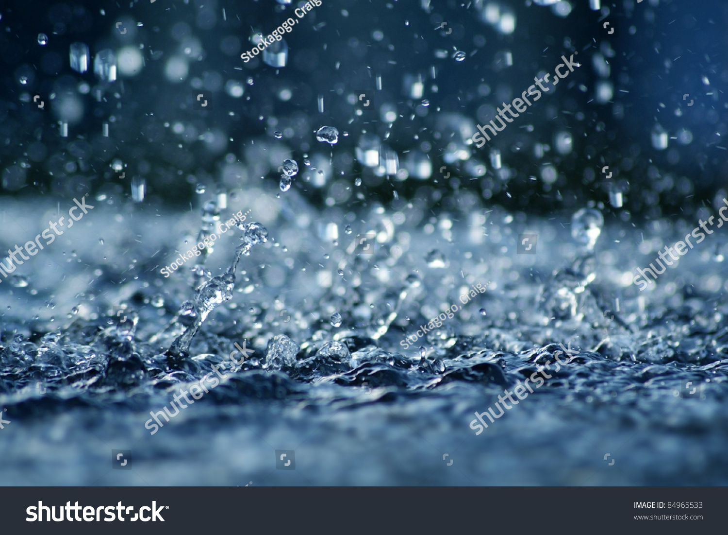 View Falling Rain Cast Blue Light Stock Photo 84965533
