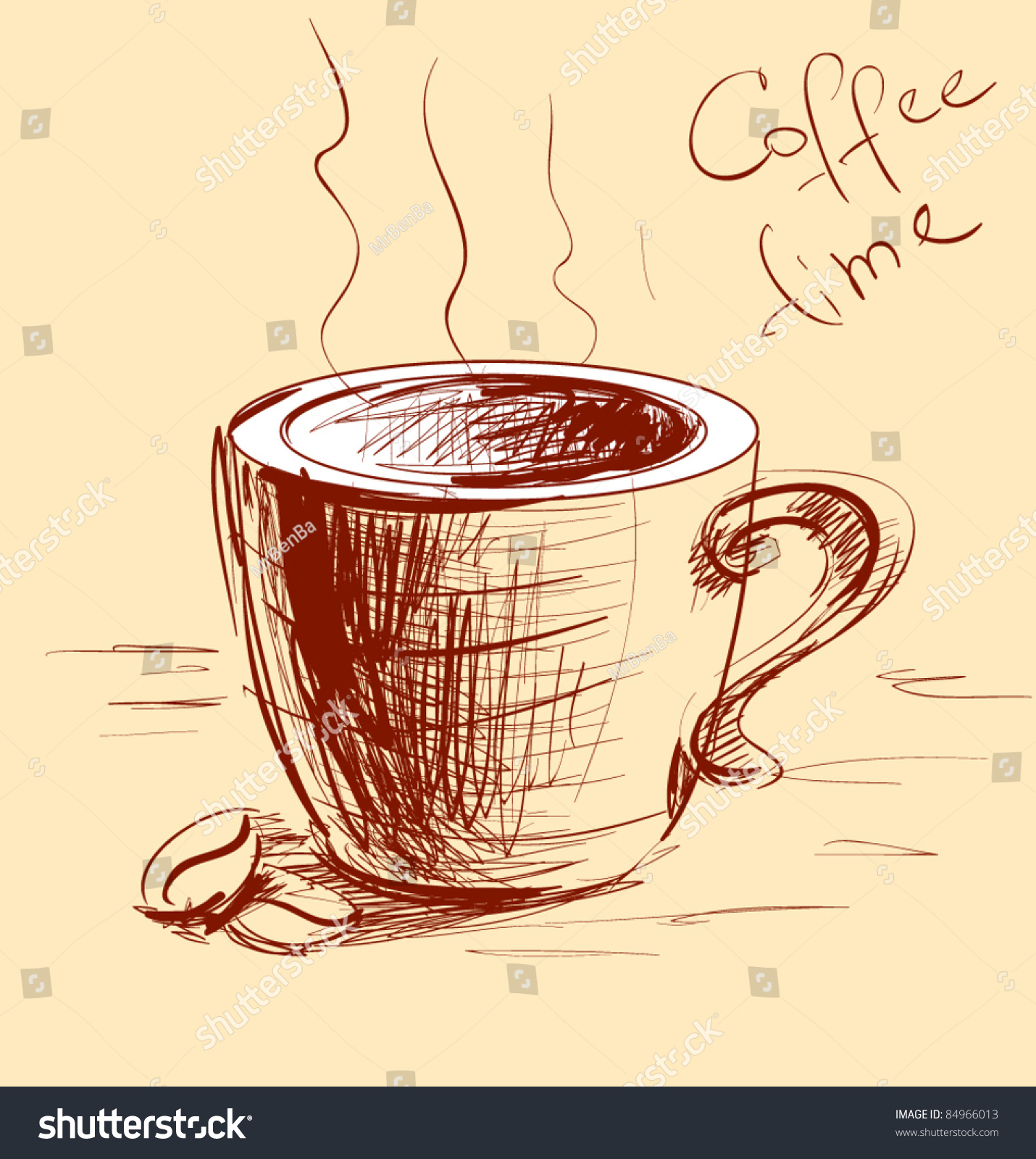 Coffee cup sketch - Coffee Cup Sketch Vector Illustration