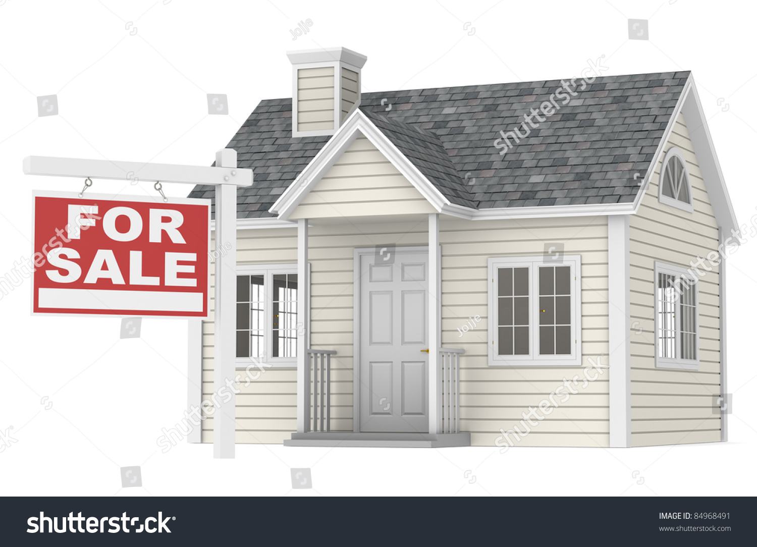 house for sale a simple house with a for sale sign stock photo 84968491 shutterstock. Black Bedroom Furniture Sets. Home Design Ideas