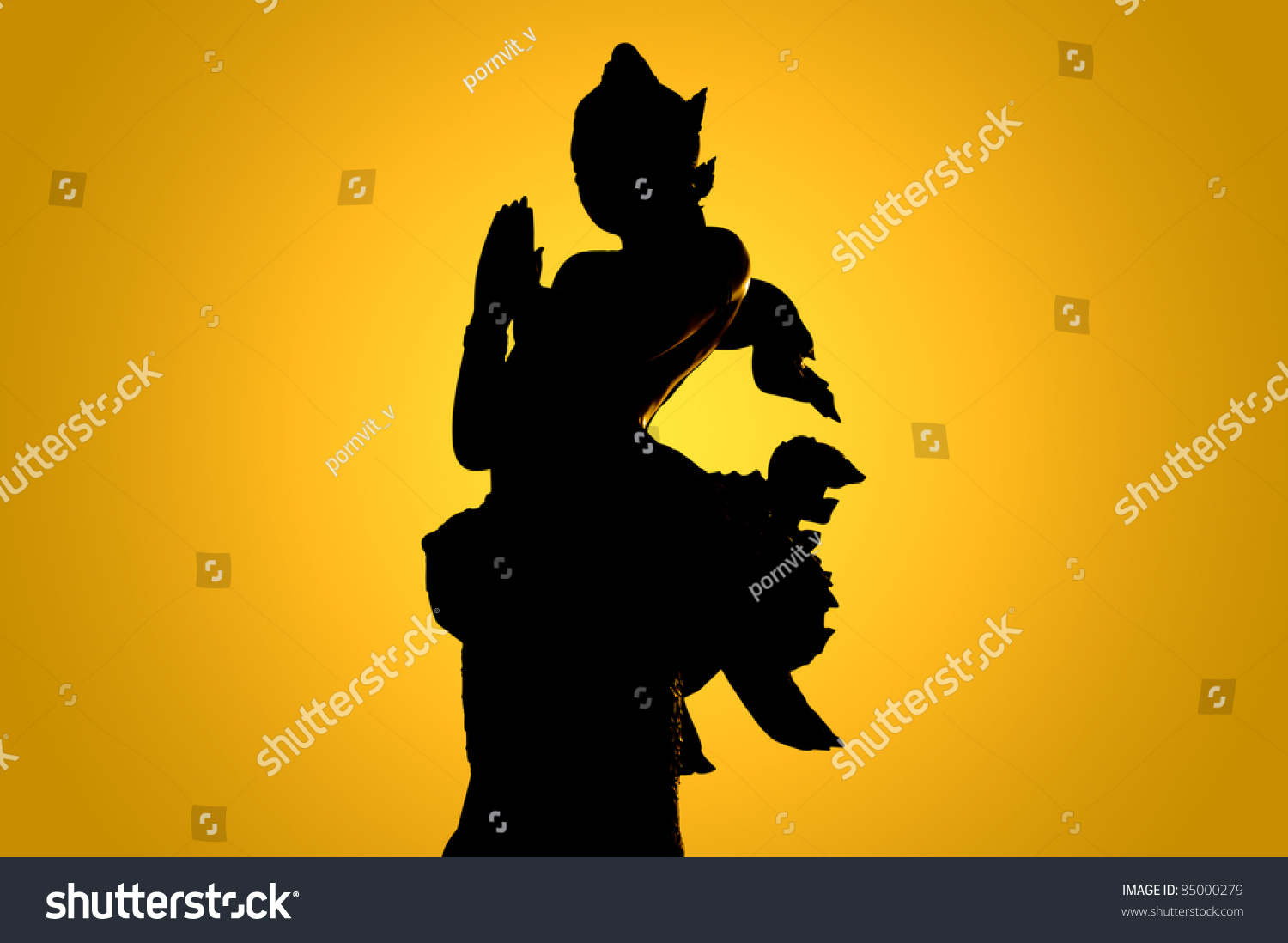 Silhouette thailand which still represents traditional stock photo silhouette of thailand which still represents the traditional thai greeting kristyandbryce Images