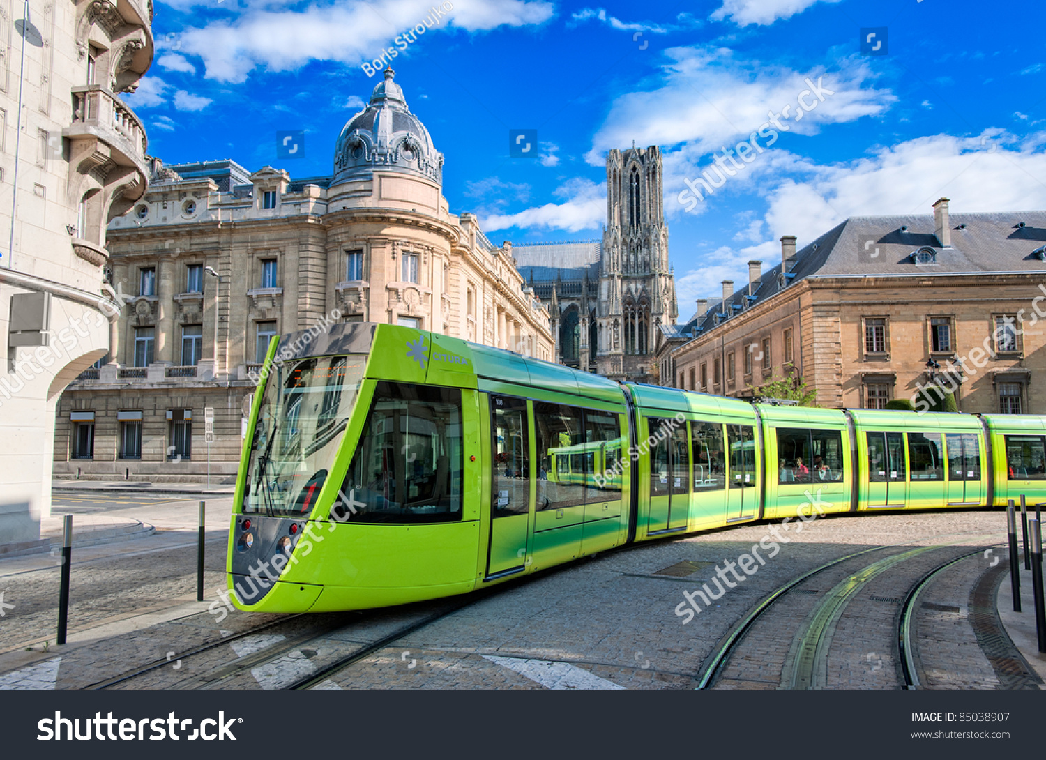 tram on streets reims france stock photo 85038907 shutterstock. Black Bedroom Furniture Sets. Home Design Ideas