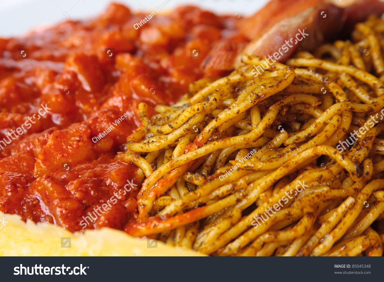 Peruvian Food Sopa Seca Y Carapulcra Stock Photo Edit Now 85045348