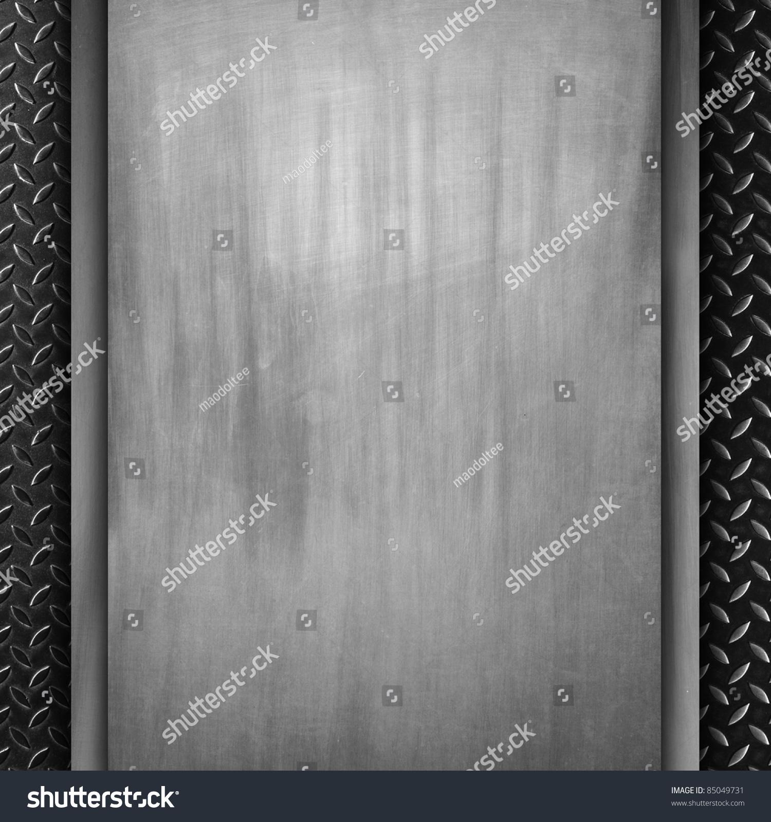 Blank Scratch Metal Sheet On Old Metal Plate Stock Photo