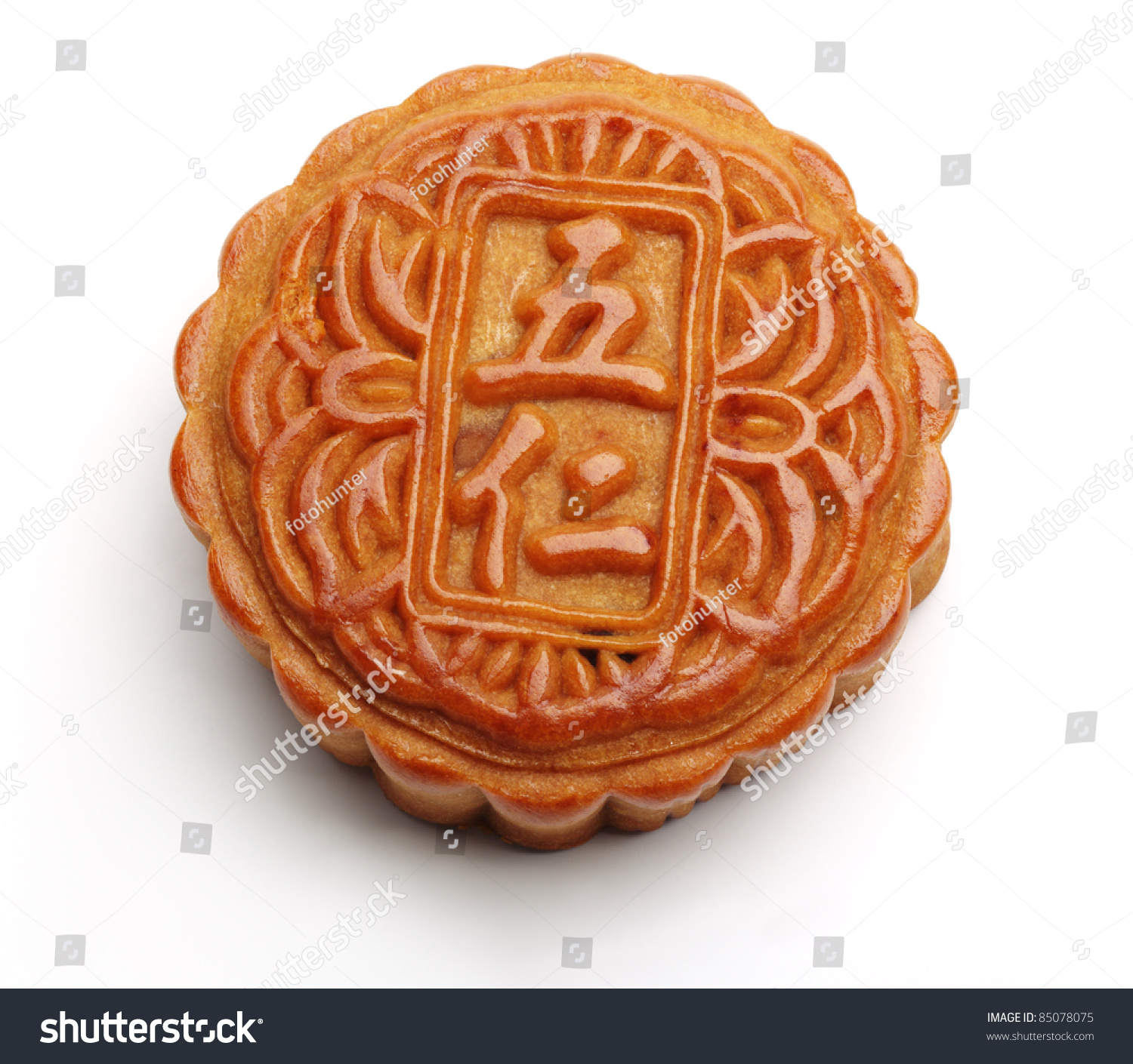 The Round Chinese Moon Cake Eaten To Celebrate The Middle Autumn Day ...