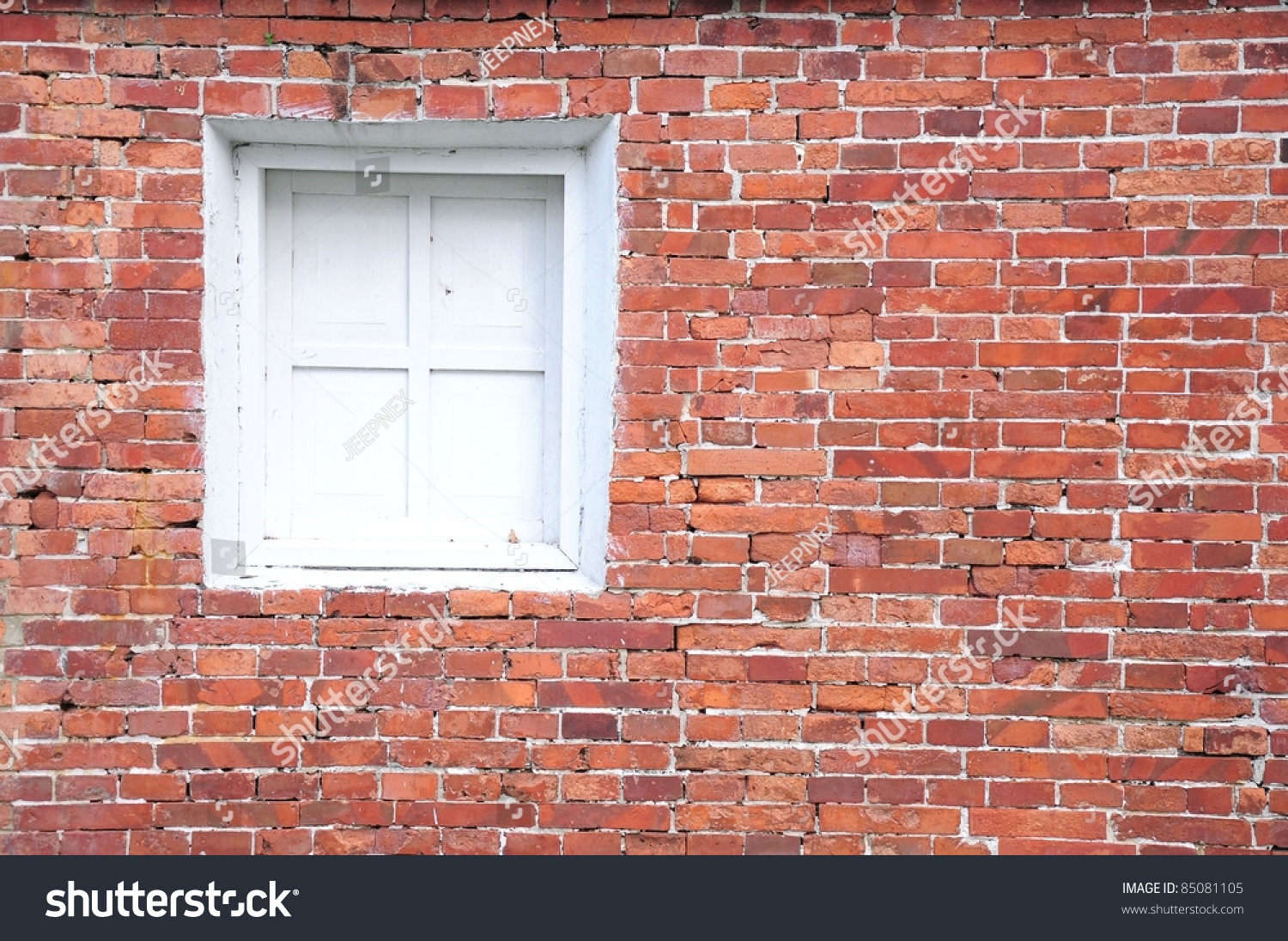 Old Brick Wall With White Window Stock Photo 85081105