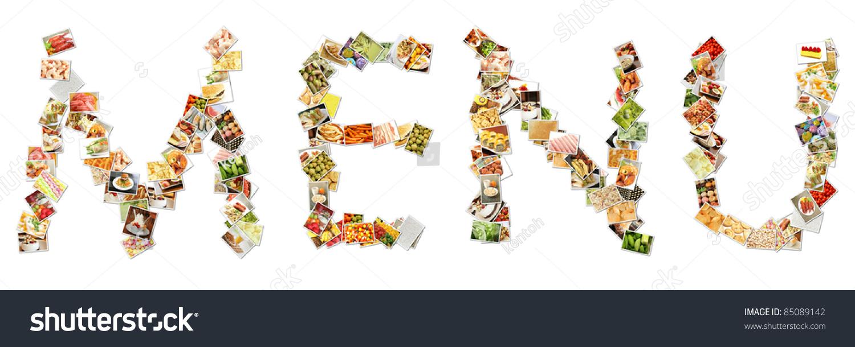 food menu collage letters alphabet stock illustration 85089142 food menu collage in letters of alphabet