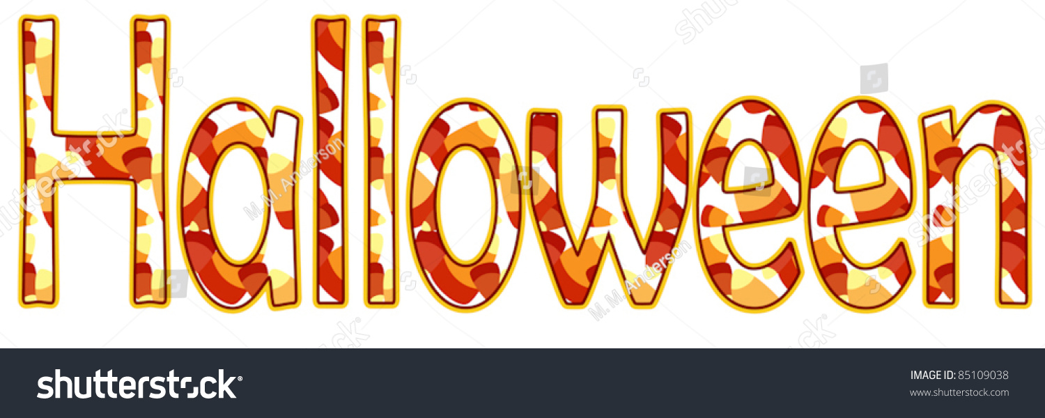 word halloween spelled out sweet candy stock vector royalty free