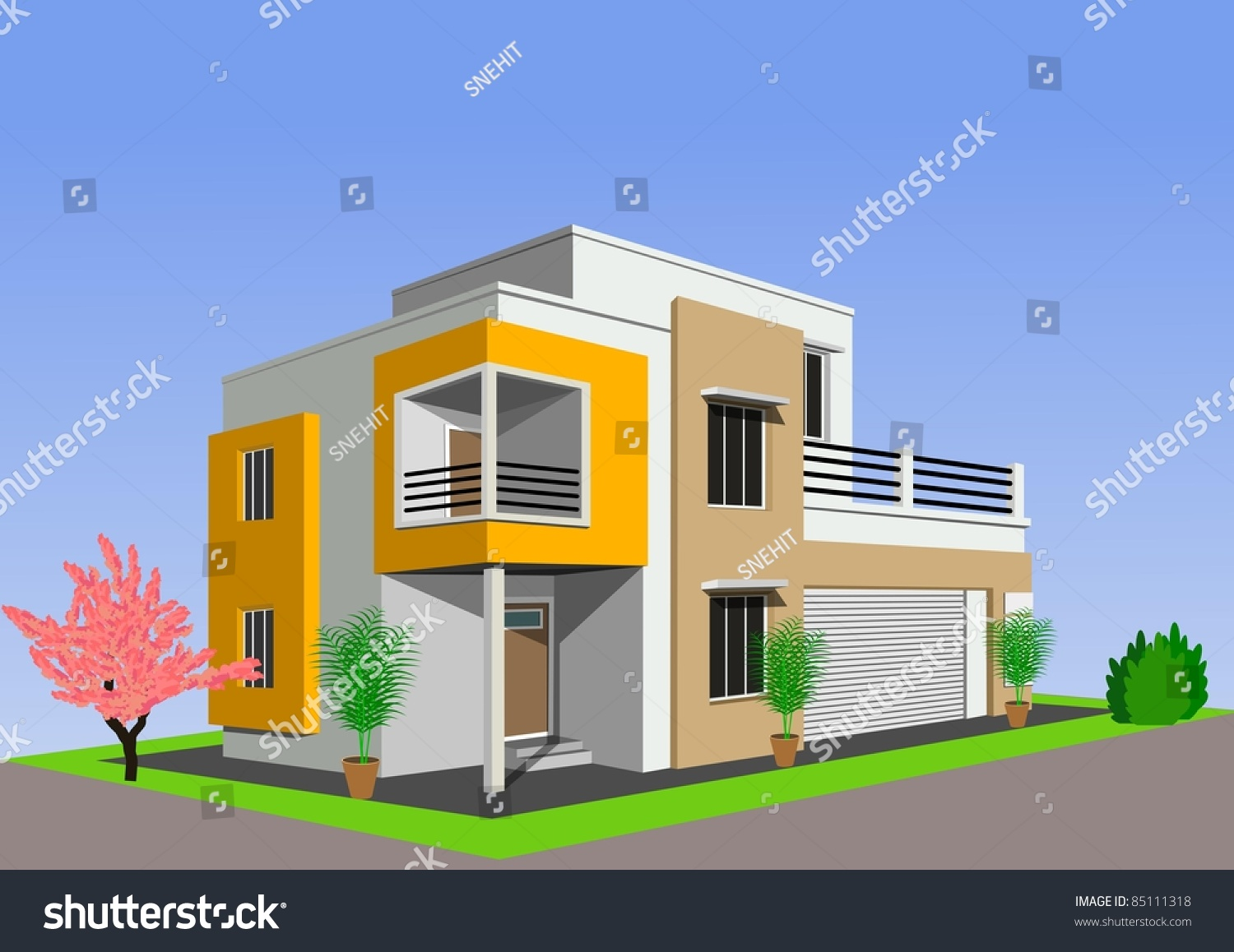 Modern home architecture against blue sky stock photo for Blue modern house