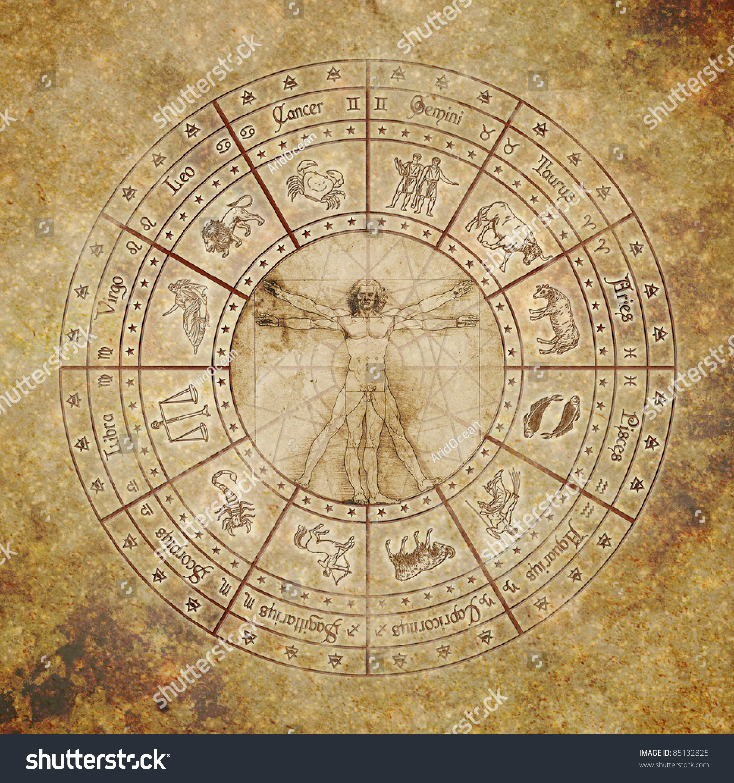 Zodiac Circle With Vitruvian Man In The Center On Grunge Background ...