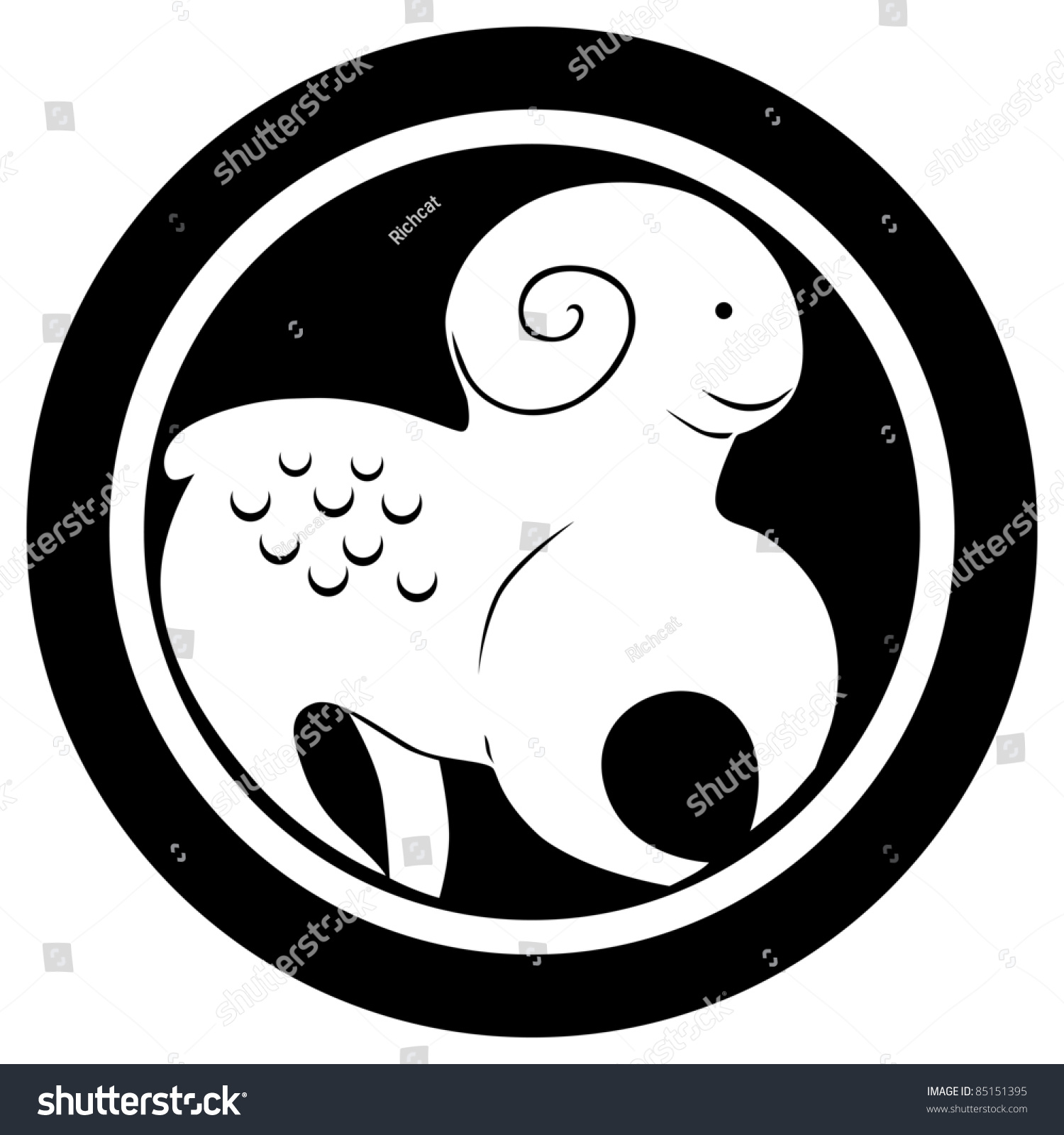 Stylized Zodiac Sign The Ram Tattoo Isolated Object Over White