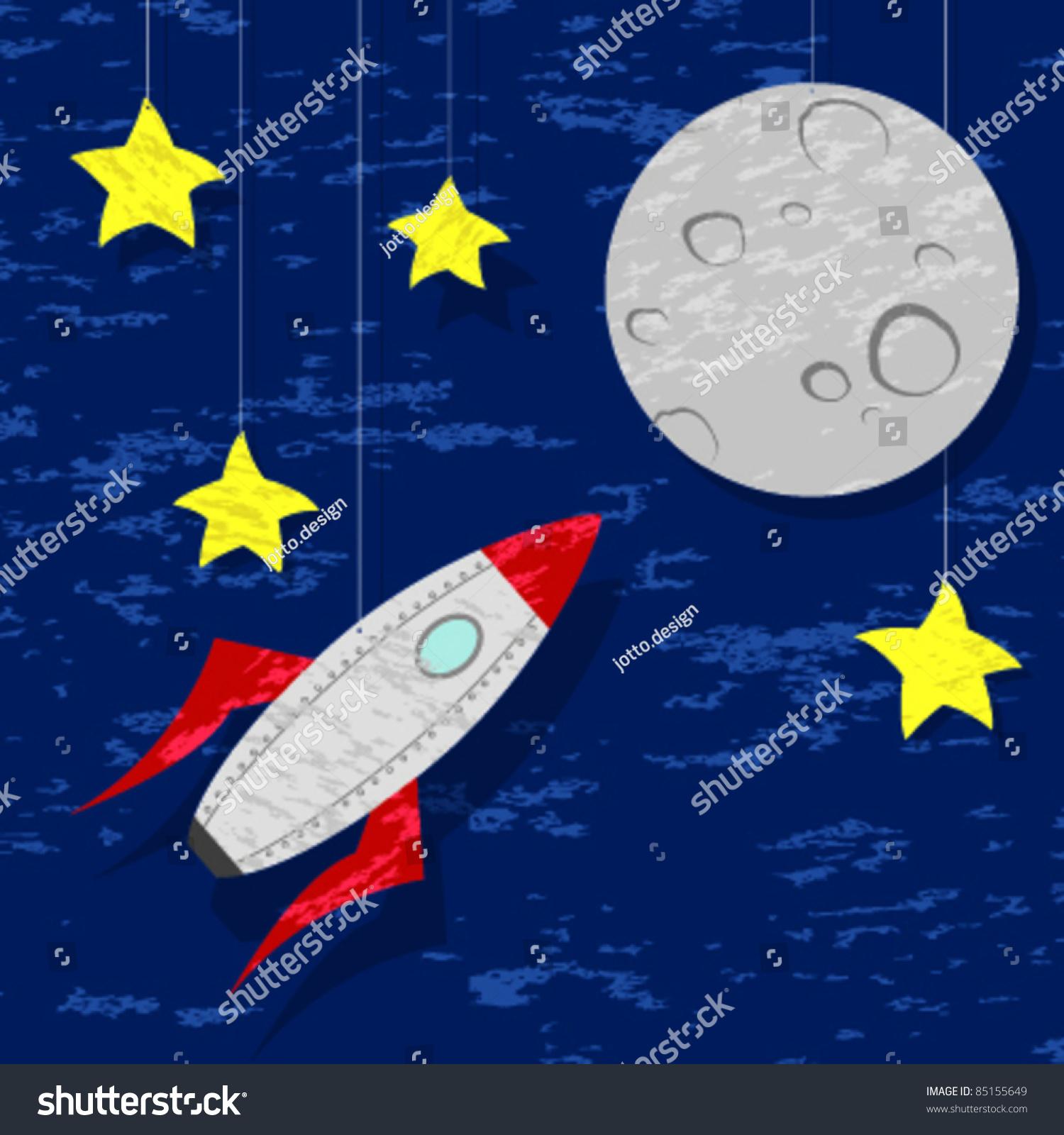 Rockets To The Moon: Rocket Moon Stock Vector 85155649
