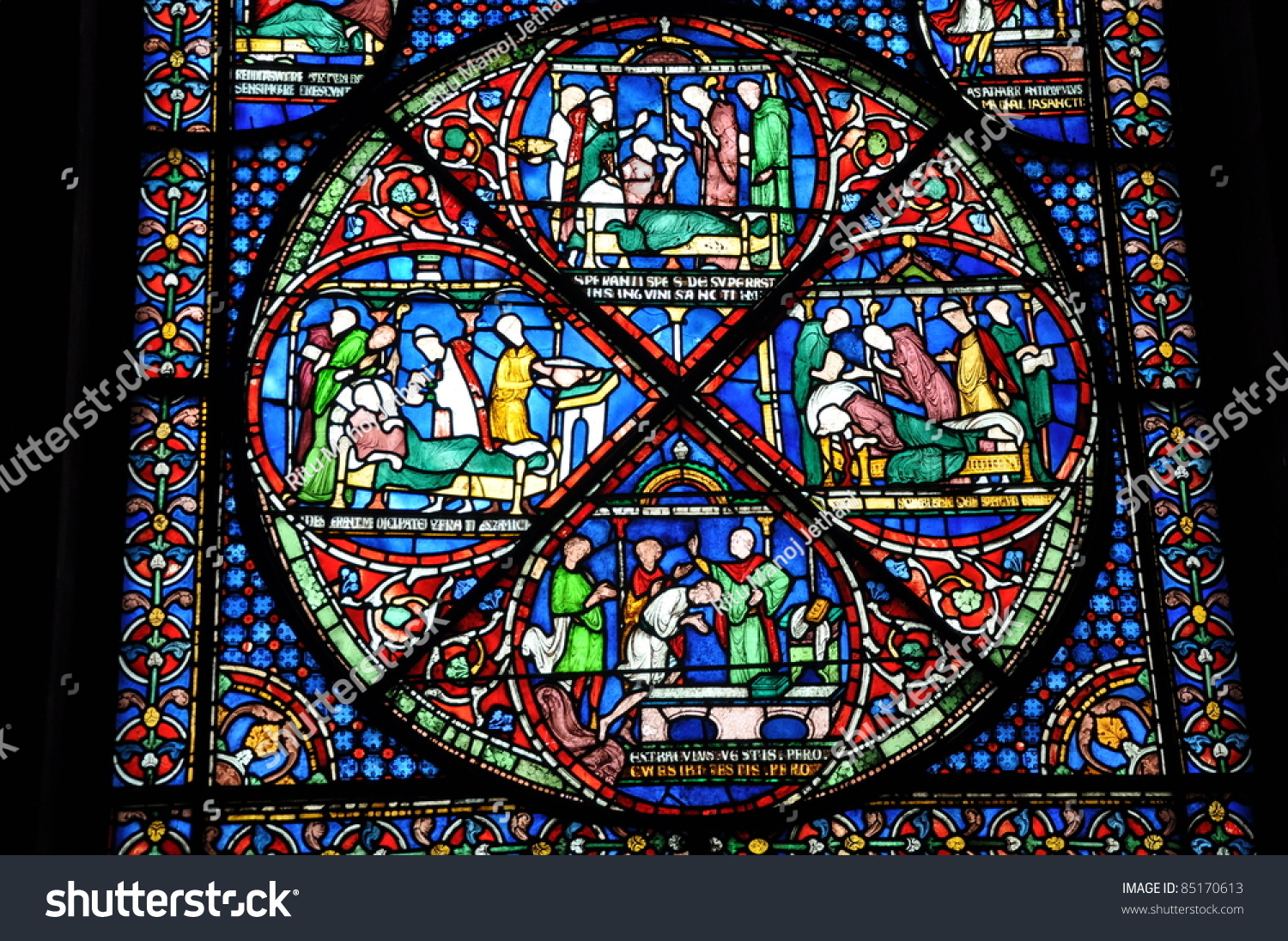 Stained Glass Windows Canterbury Cathedral England Stock