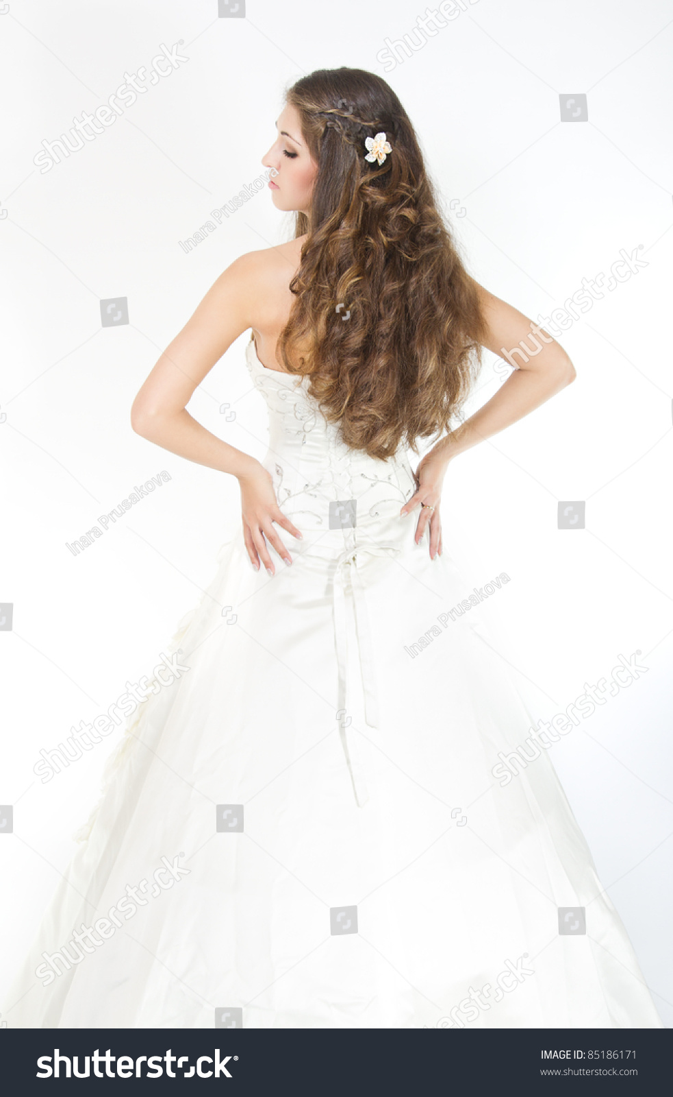 Long Curly Hair Bride Hairstyle Wedding Stock Photo 85186171 ...