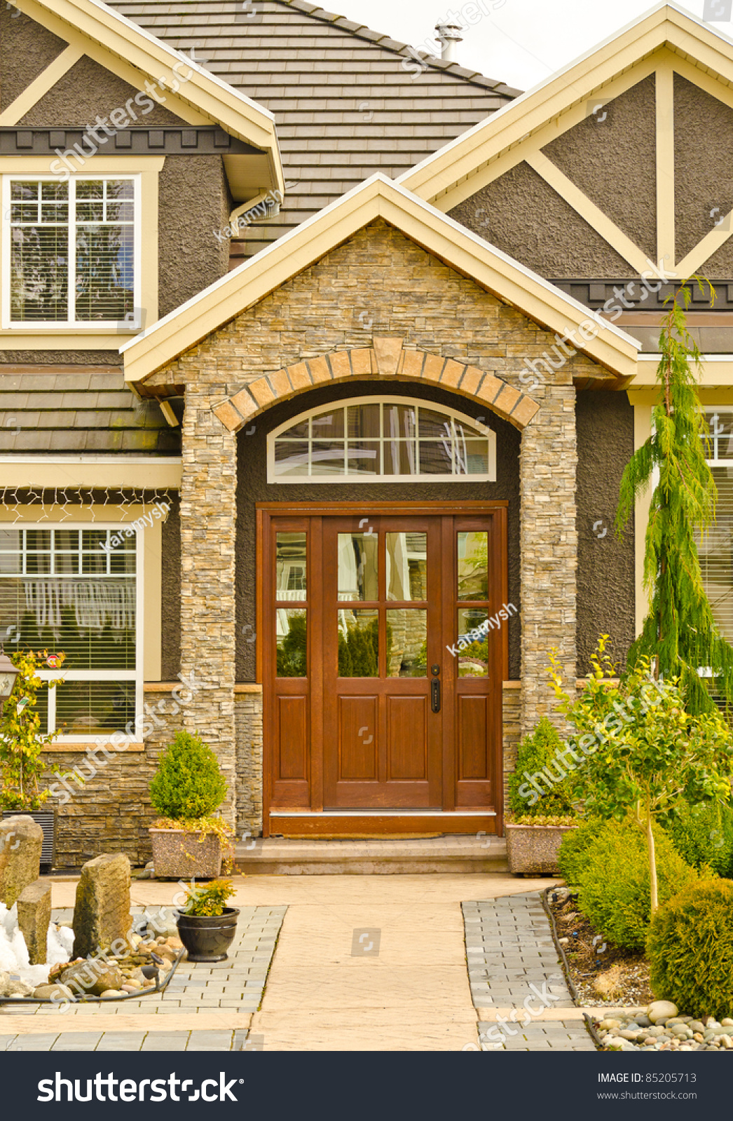 Entrance Of A Nice House With Outdoor Landscape Stock