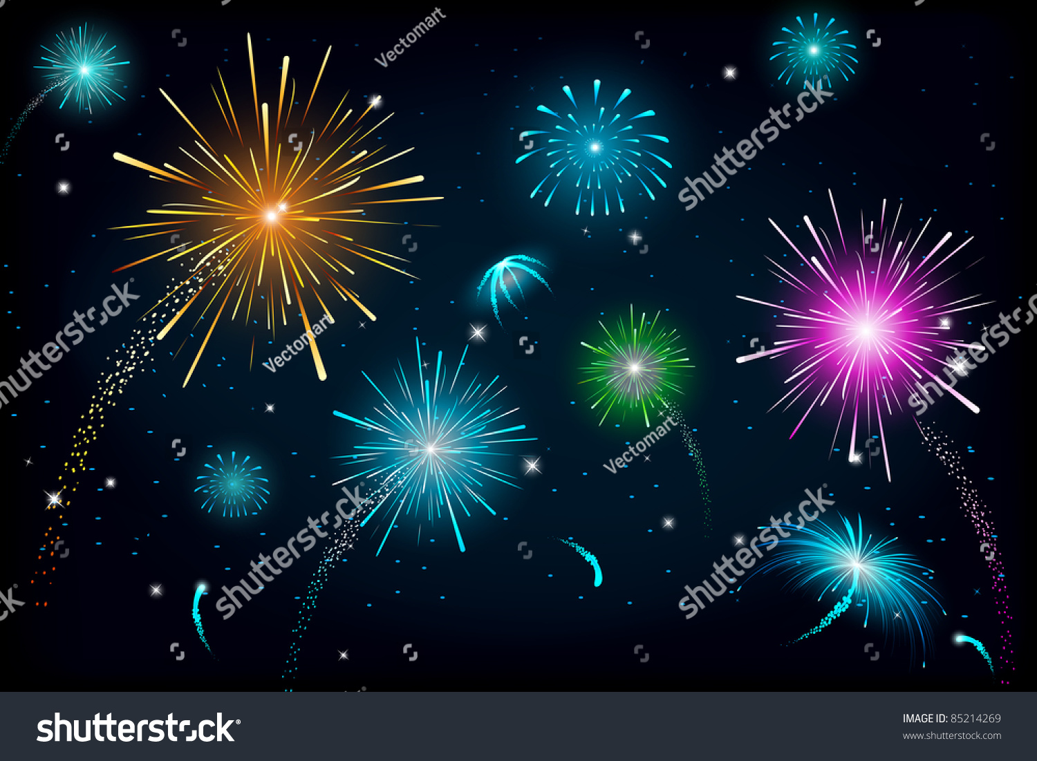 Wallpaper Salute Sky Holiday Colorful 3376x4220: Illustration Colorful Fire Cracker Blast Sky Stock Vector