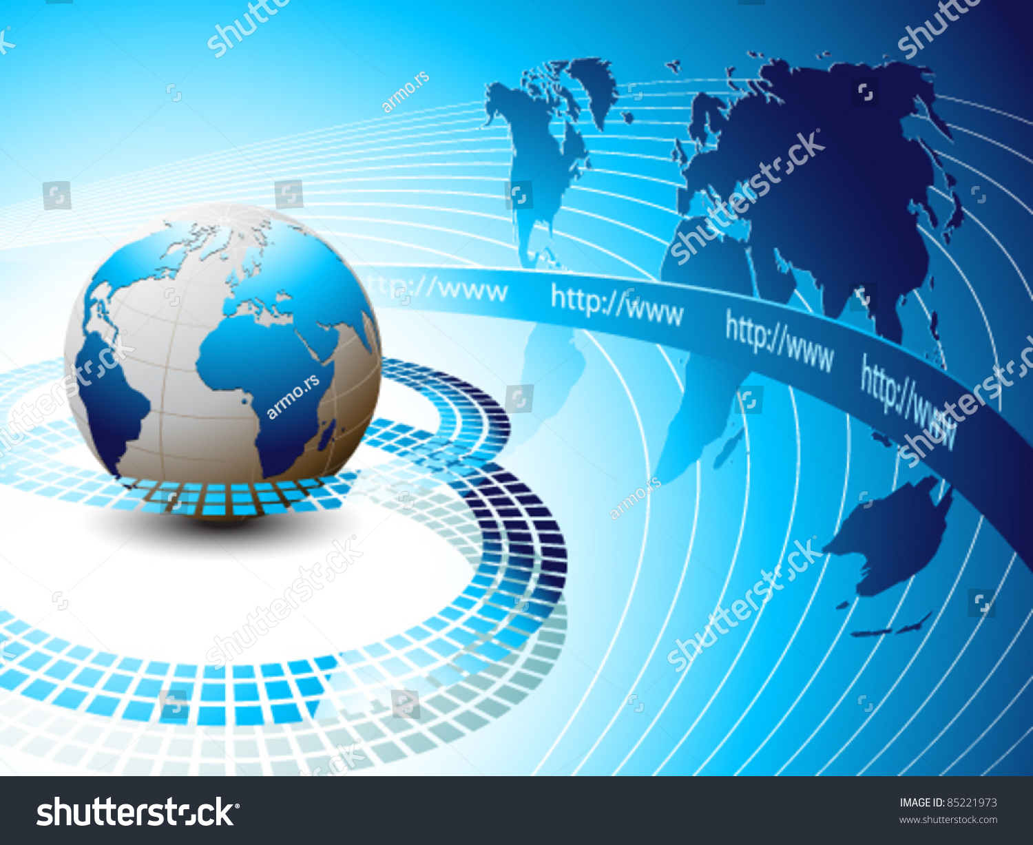 Internet Background With Earth Stock Vector Illustration