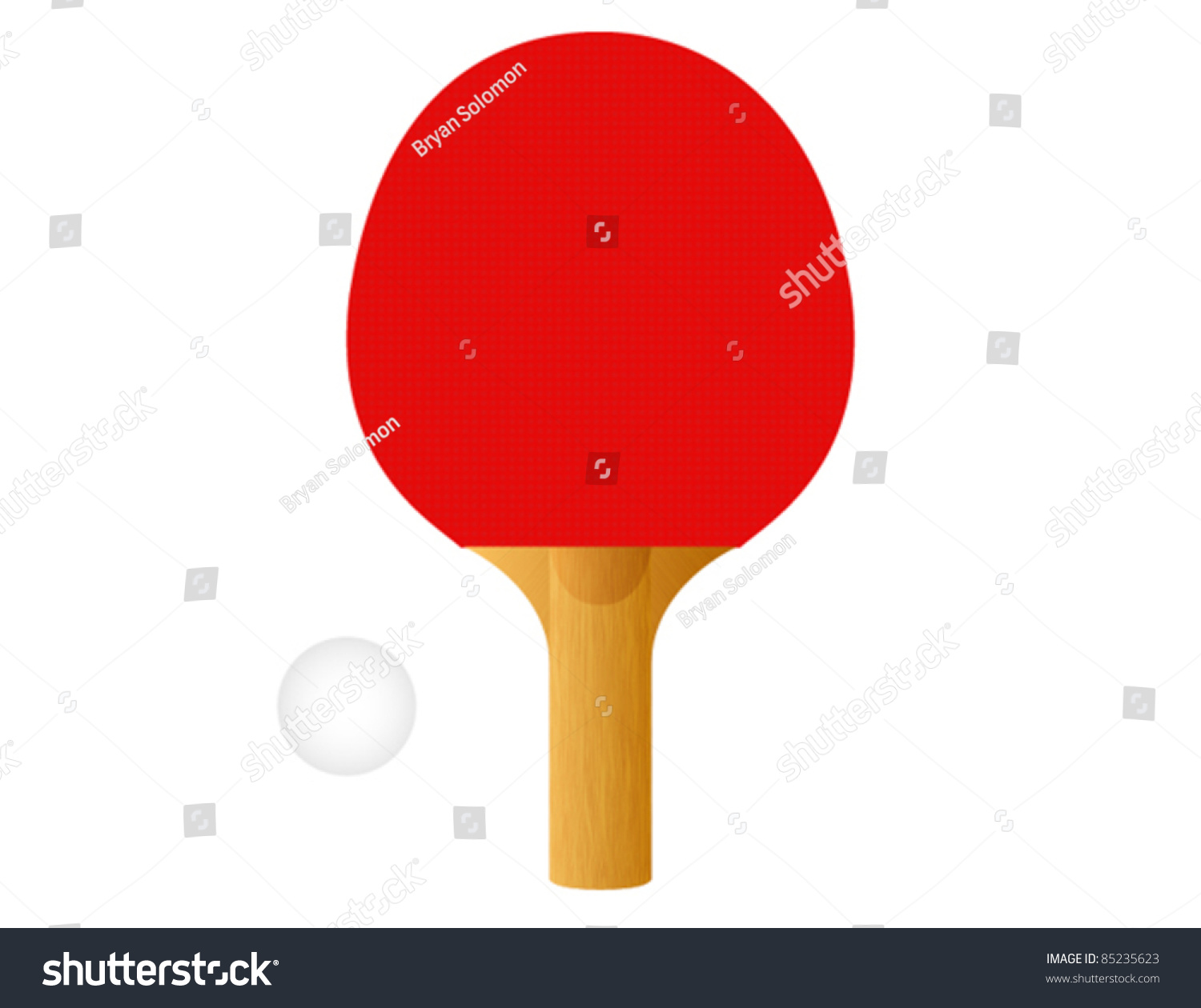 Red Ping Pong Paddle Ball Vector Stock Vector 85235623