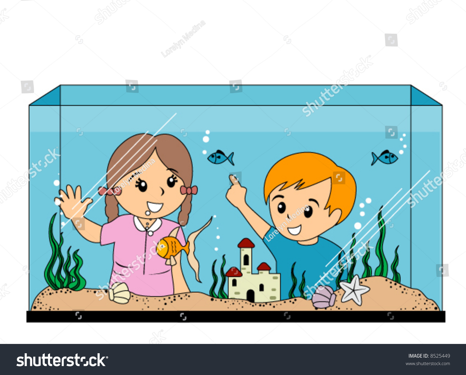 Children Looking Aquarium Vector Stock Vector 8525449 - Shutterstock
