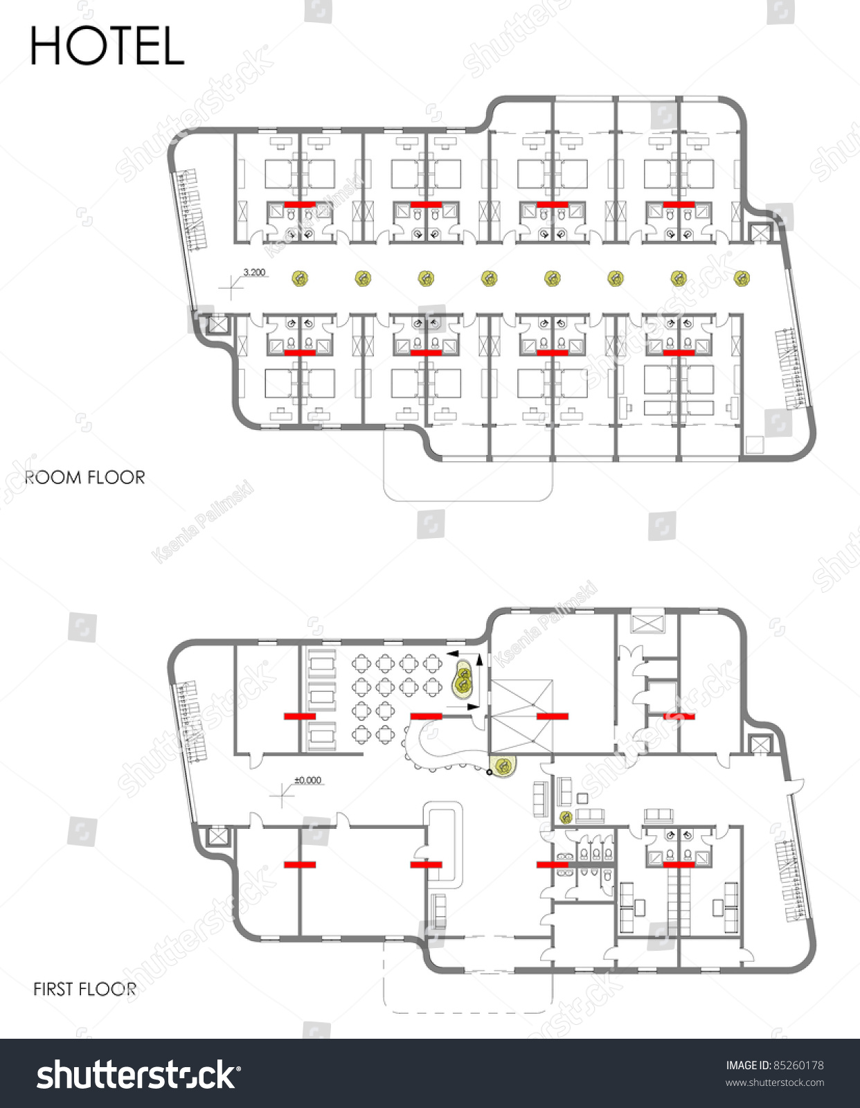 Hotel Drawing Plan Cad Blueprint Stock Illustration Royalty Free Wiring Diagram Symbols On Kitchen