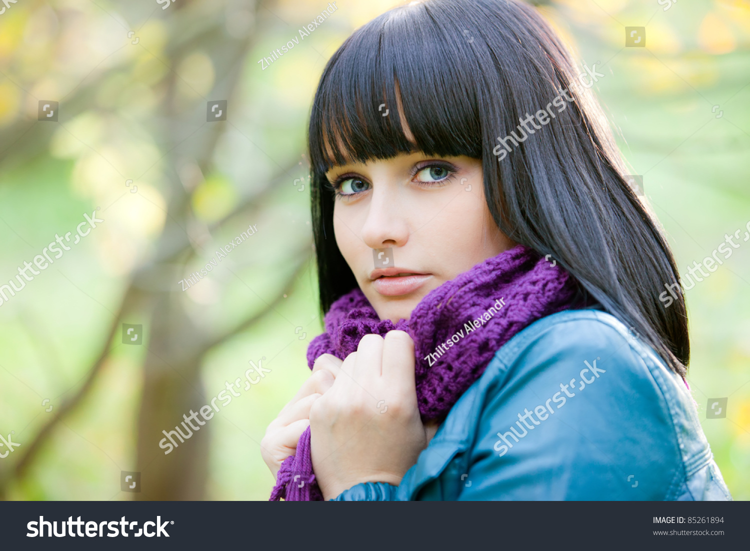 cute girl scarf cold weather stock photo (royalty free) 85261894