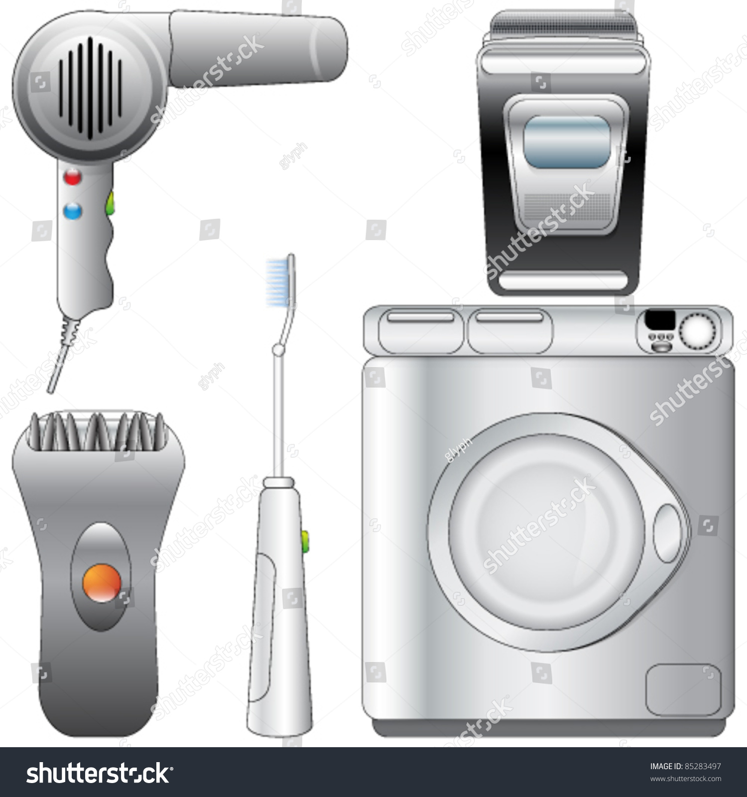 Vector set of realistic detailed bathroom appliances for Bathroom appliances