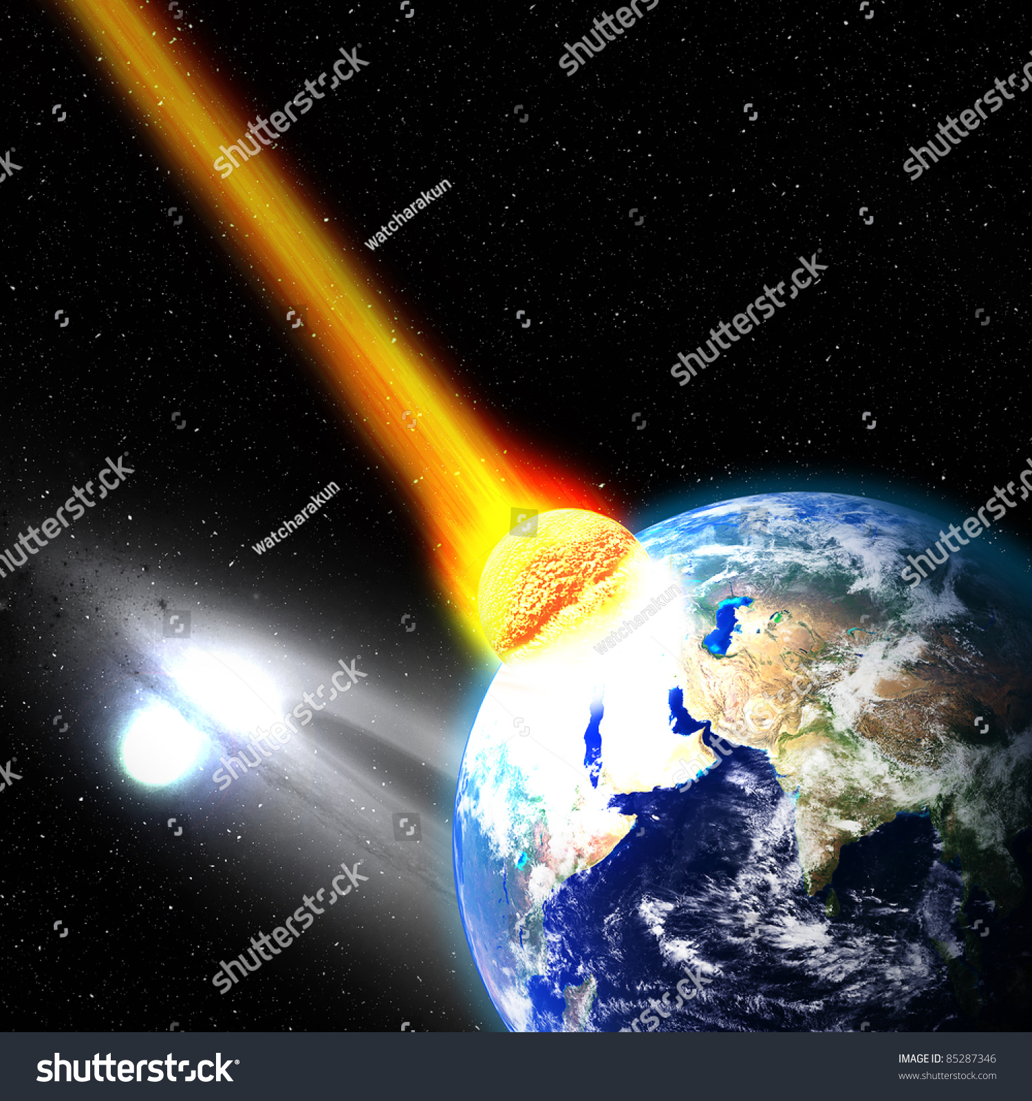 the day a meteor hits the earth When a meteor hits earth, the resulting radiation resurrects a dead gangster at the bottom of the river awakened, he determines to avenge his death.
