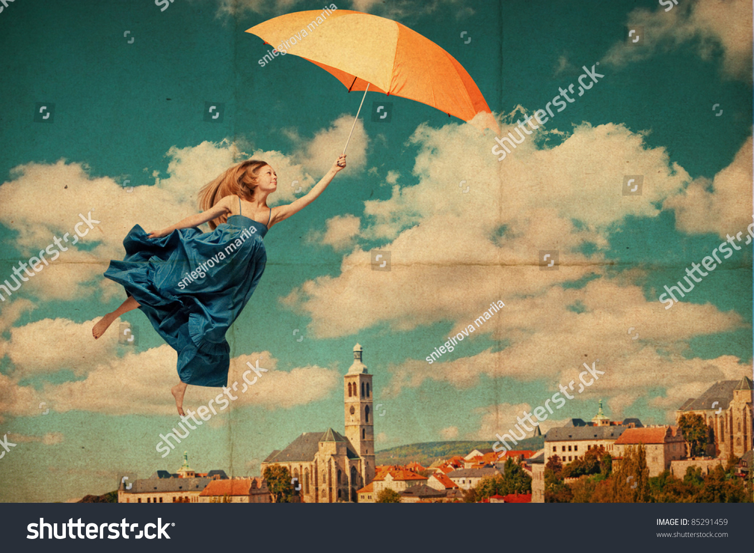Art Collage With Flying Woman, Vintage Image Stock Photo ...