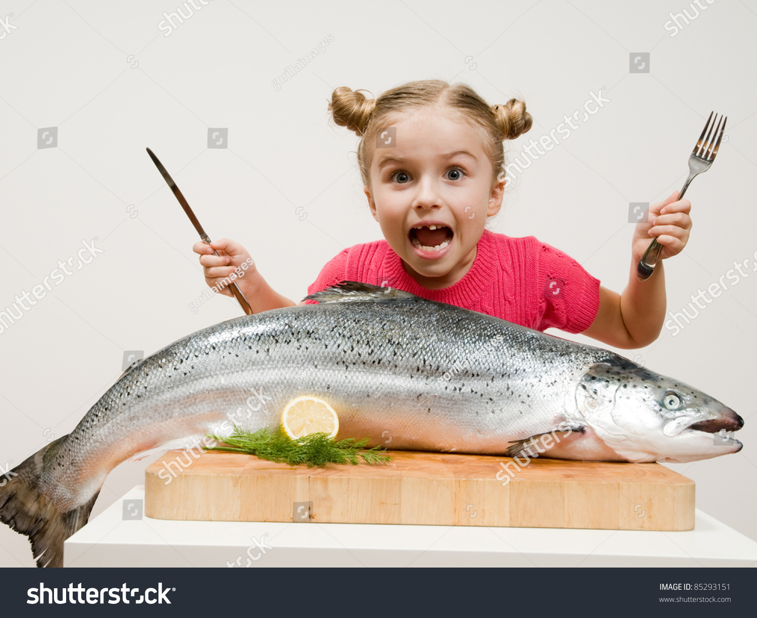 Healthy Eating Seafood Little Girl Big Stock Photo