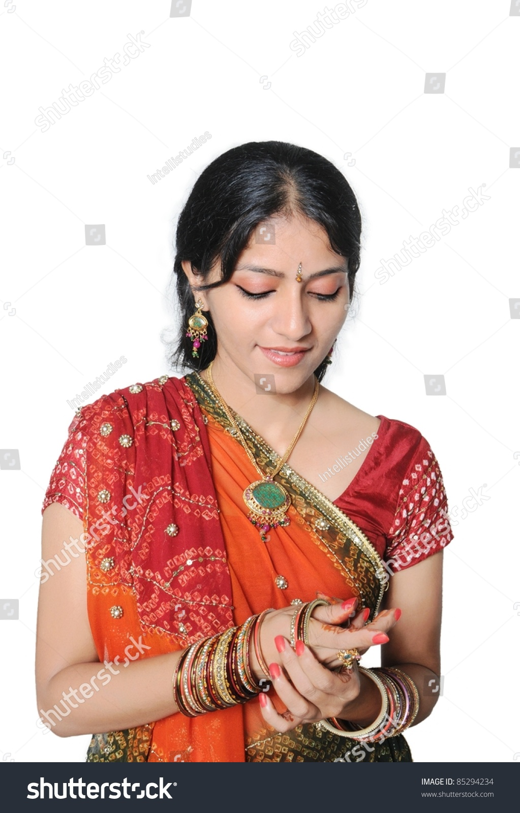 indian girl getting ready occasion wearing stock photo edit now