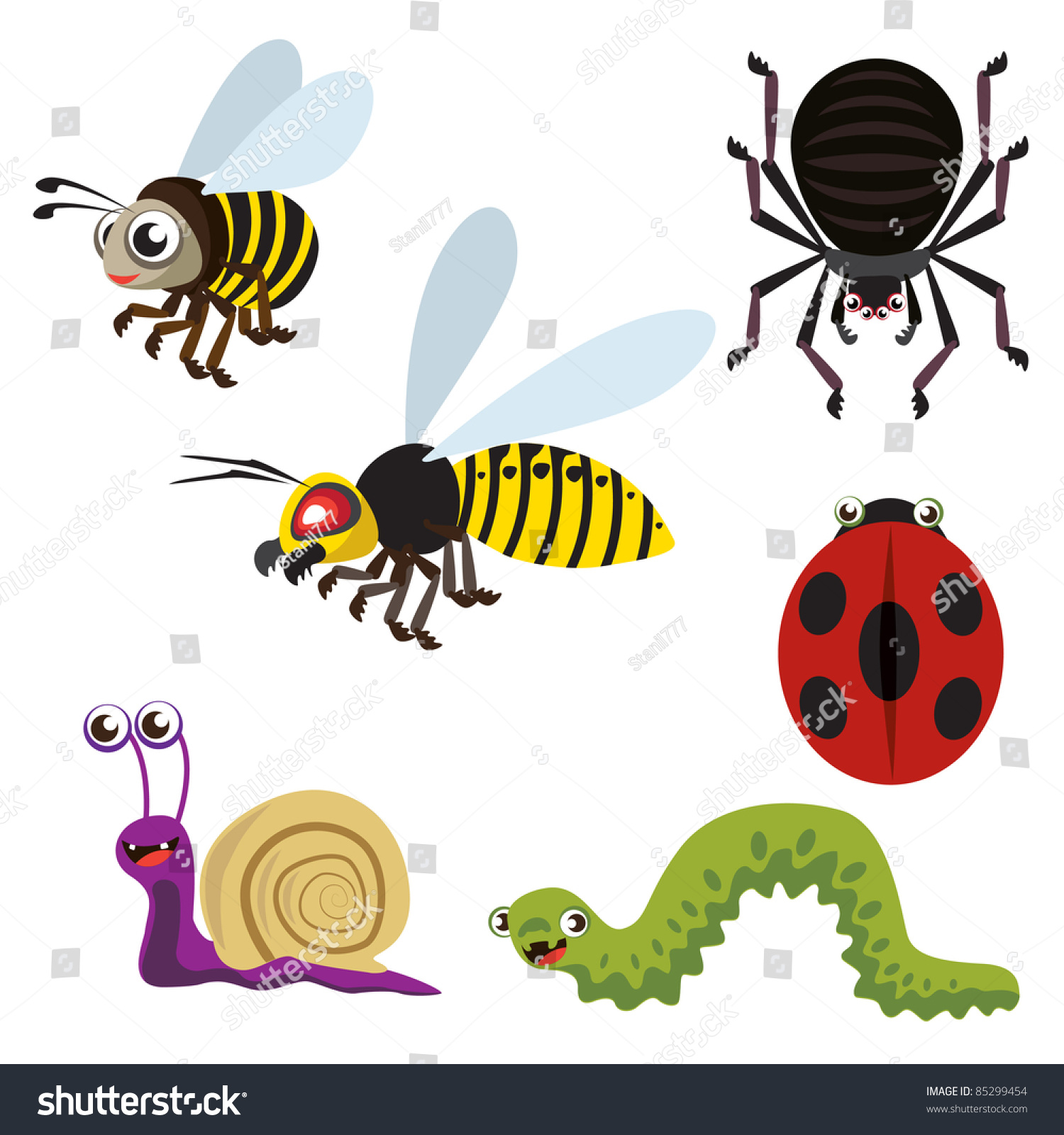 Garden Animals Stock Vector 85299454 Shutterstock