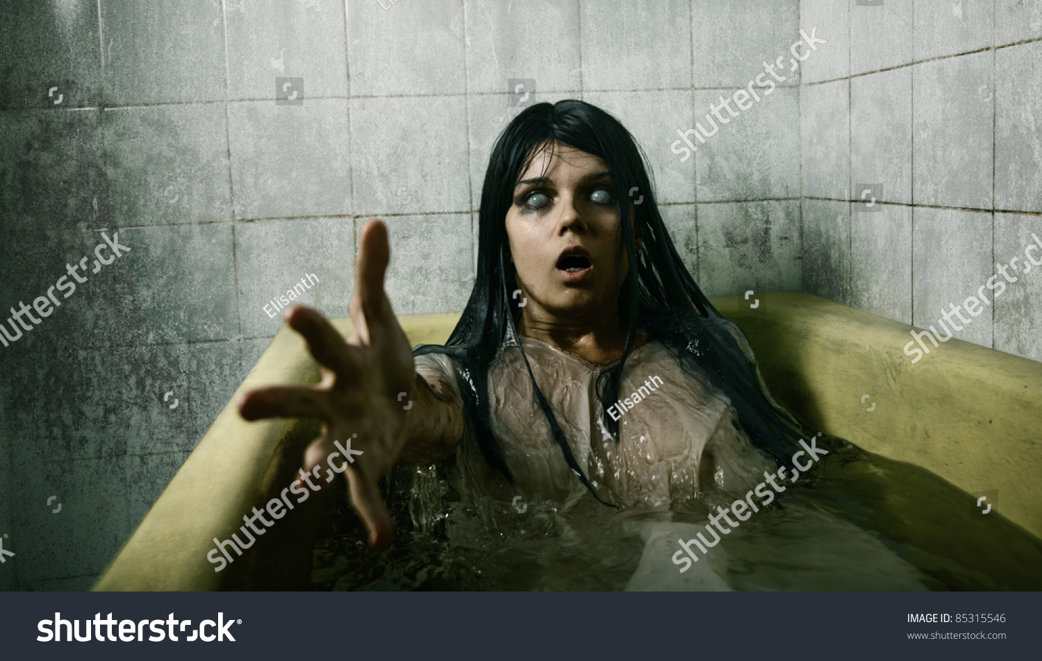 scary girl bath stretching her hand stock photo edit now 85315546