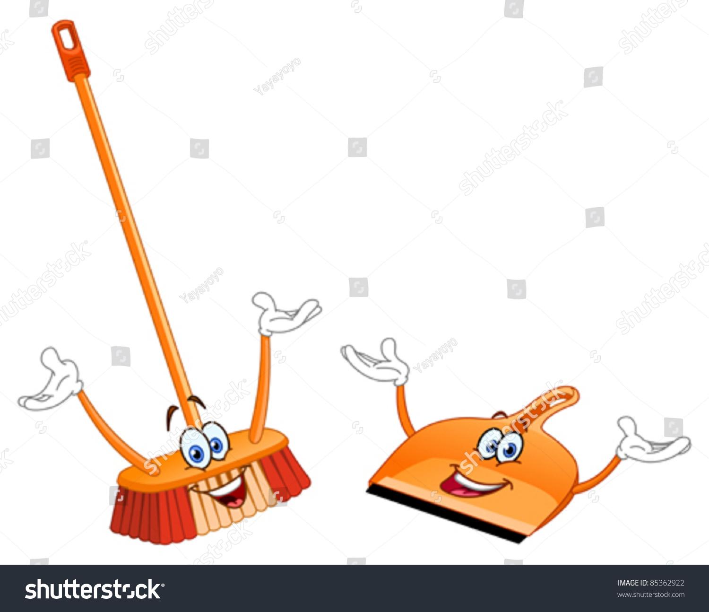 Broom Dustpan Cartoon Stock Vector 85362922 Shutterstock
